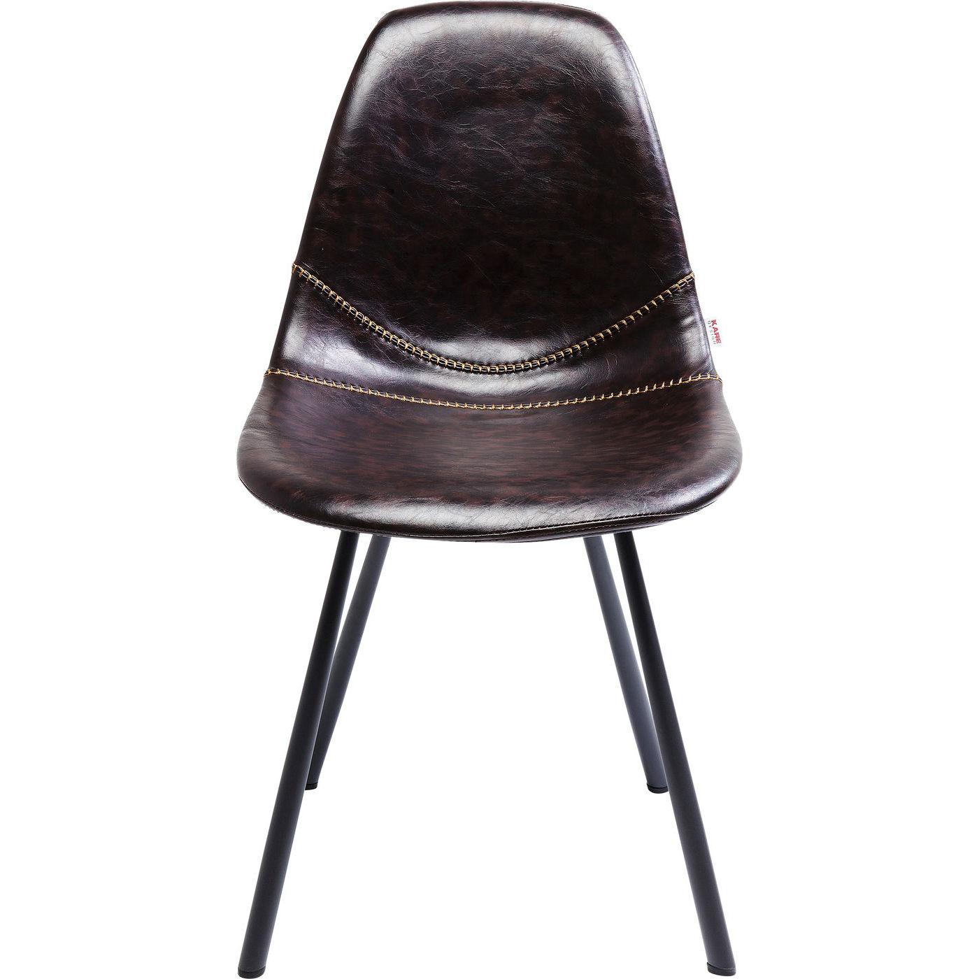 Kare design lounge brown spisebordsstol - brunt læderlook/stålben fra kare design fra boboonline.dk