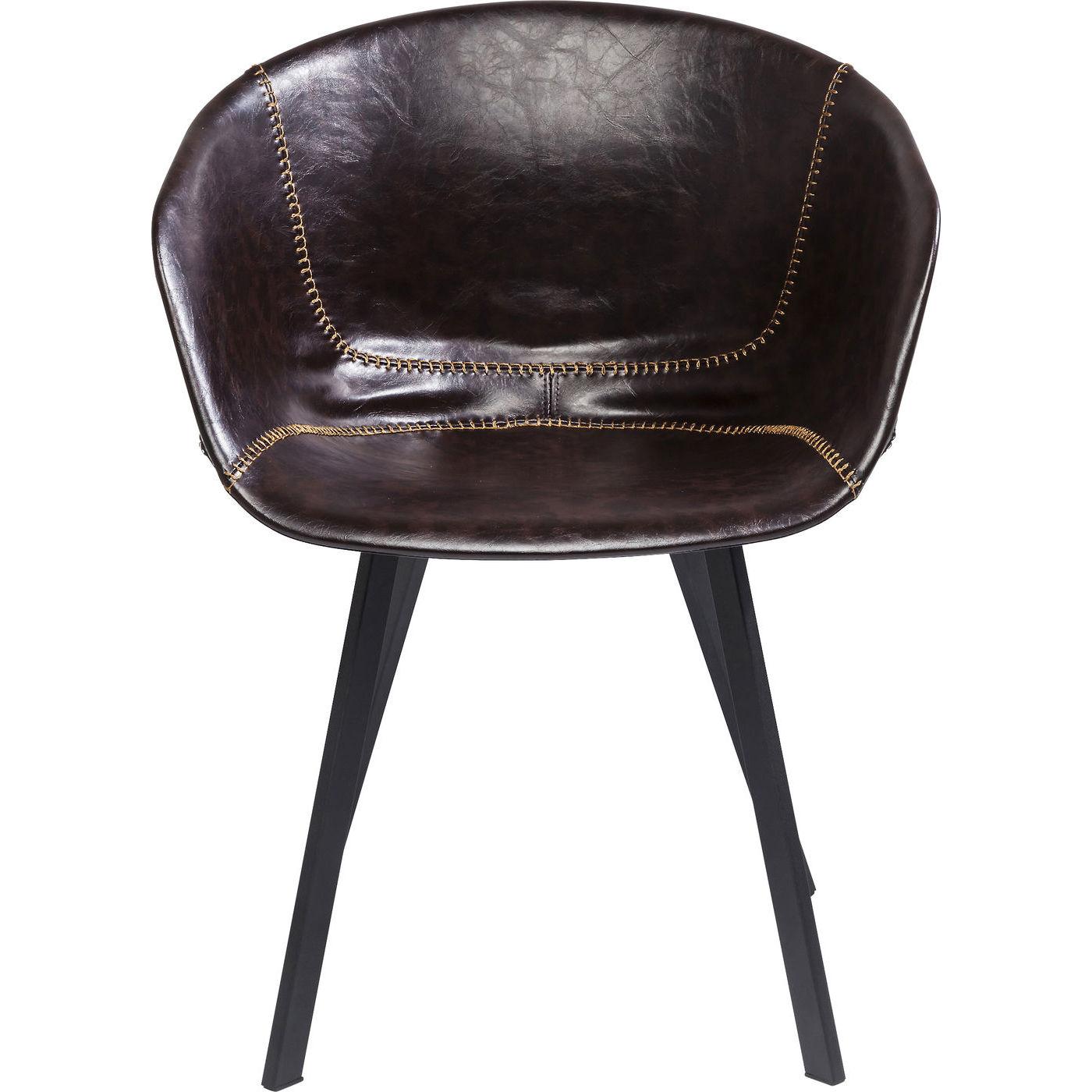 KARE DESIGN Lounge Brown spisebordsstol - brunt læderlook/sort stål, m. armlæn