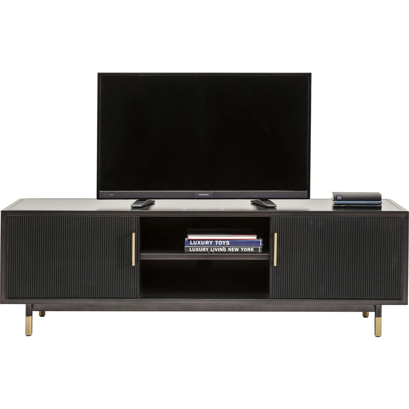 Image of   KARE DESIGN Nero TV-bord - sort stål/træ og messing stål, m. 2 låger
