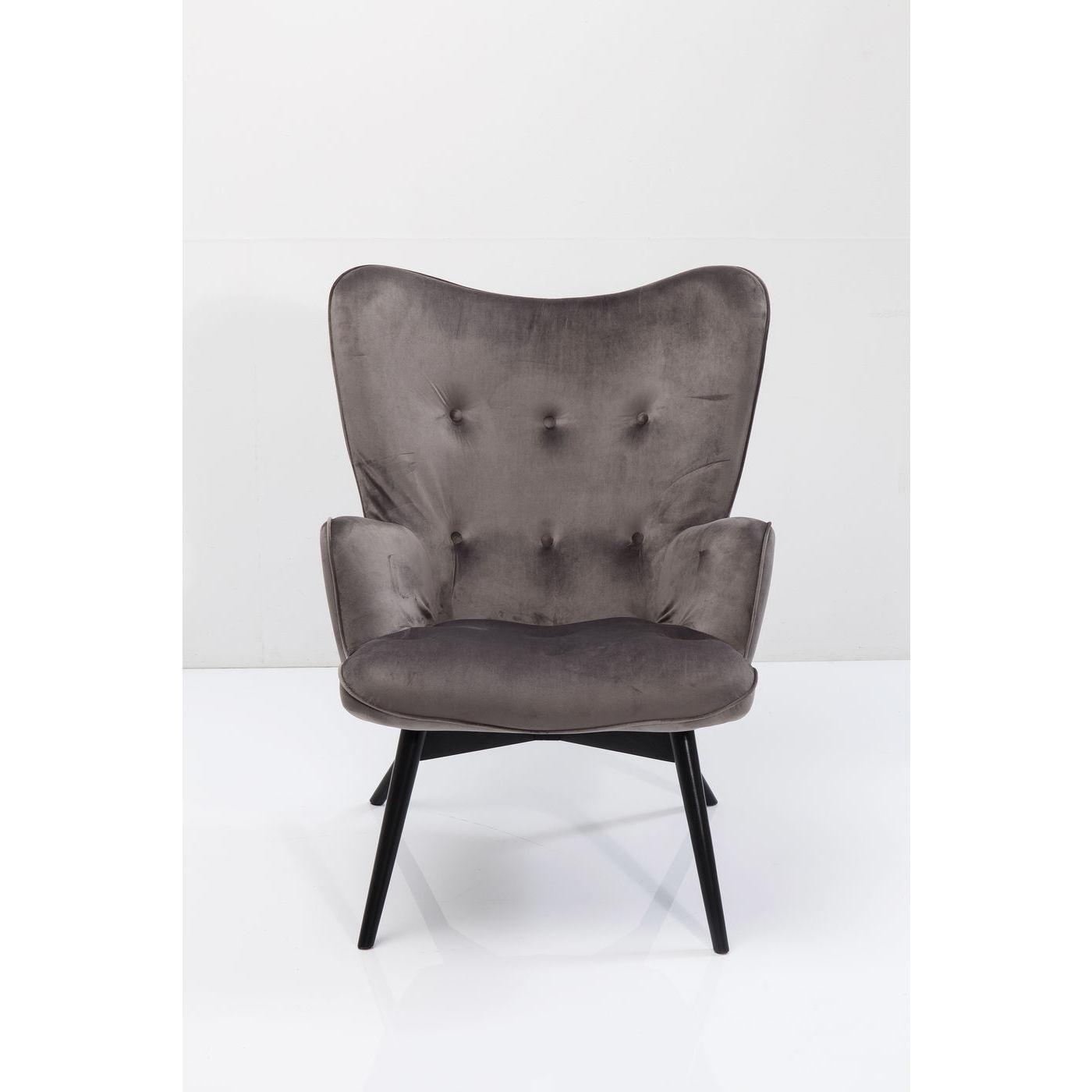 Image of   KARE DESIGN Black Vicky Velvet Grey lænestol - gråt stof/sort bøg, m. armlæn