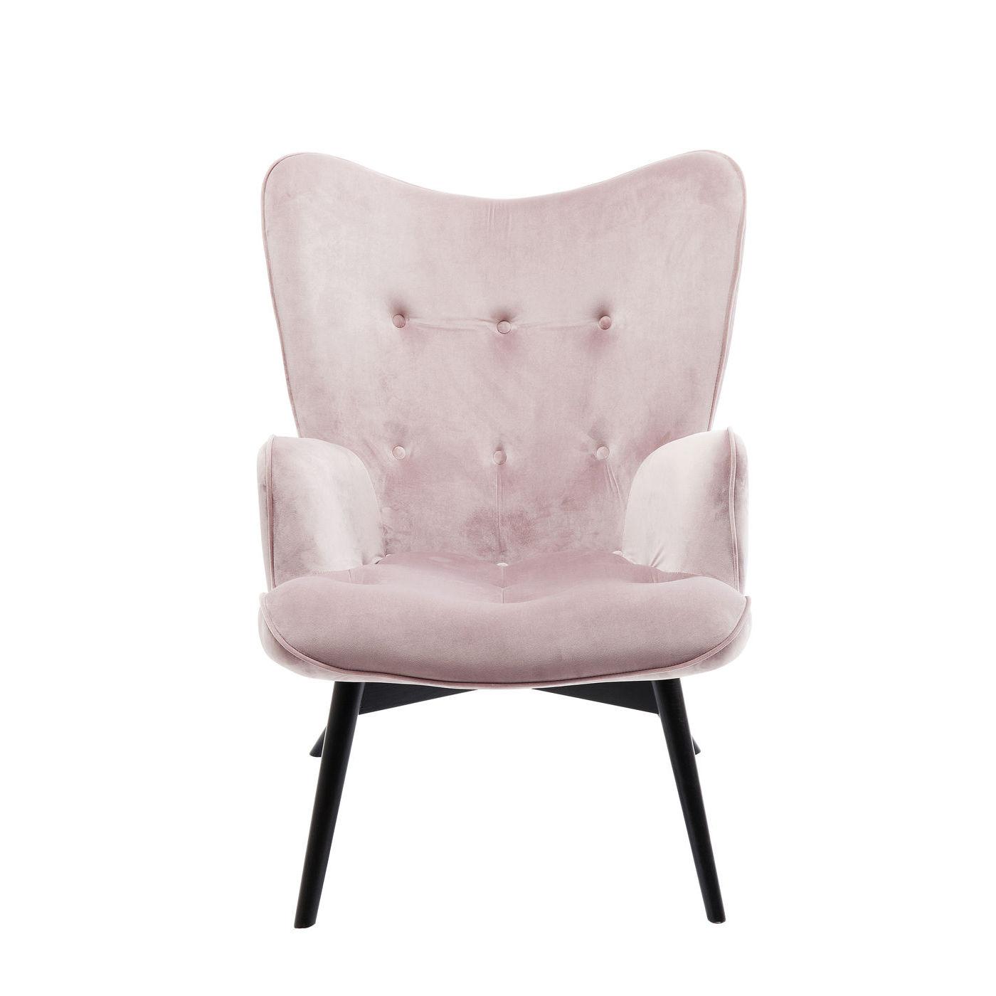 kare design Kare design black vicky velvet mauve lænestol - lyserødt stof/sort bøg, m. armlæn fra boboonline.dk
