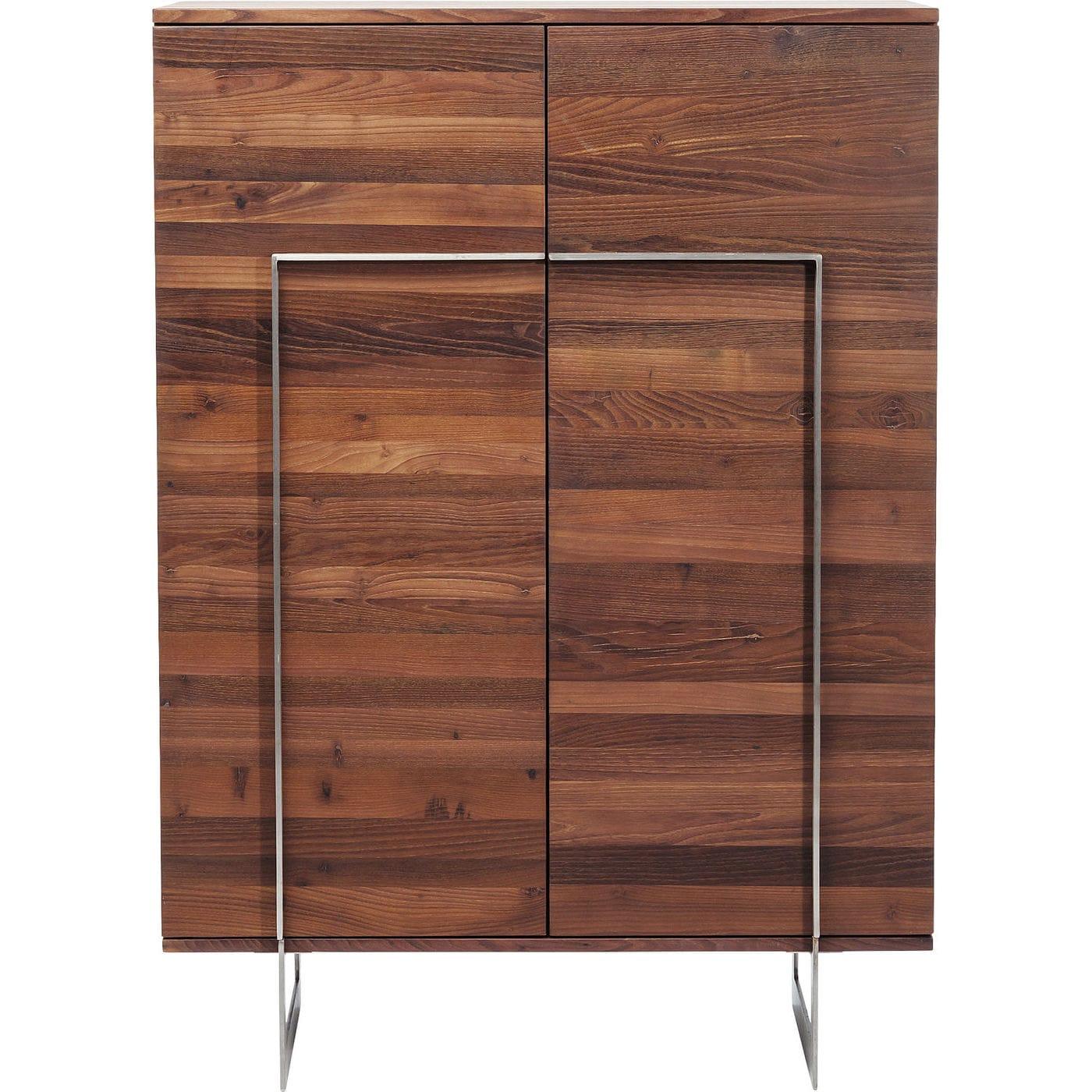 Image of   KARE DESIGN Kensington skab - brunt rubinietræ/sølv stål, m. 2 låger og 6 hylder