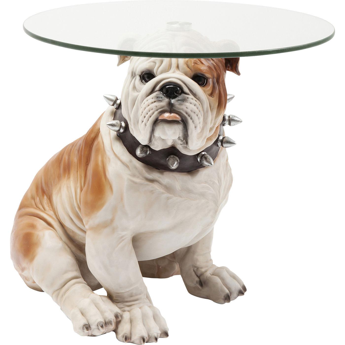 KARE DESIGN Visible Watching Bulldog sidebord - klart glas og brun/hvid polyresin