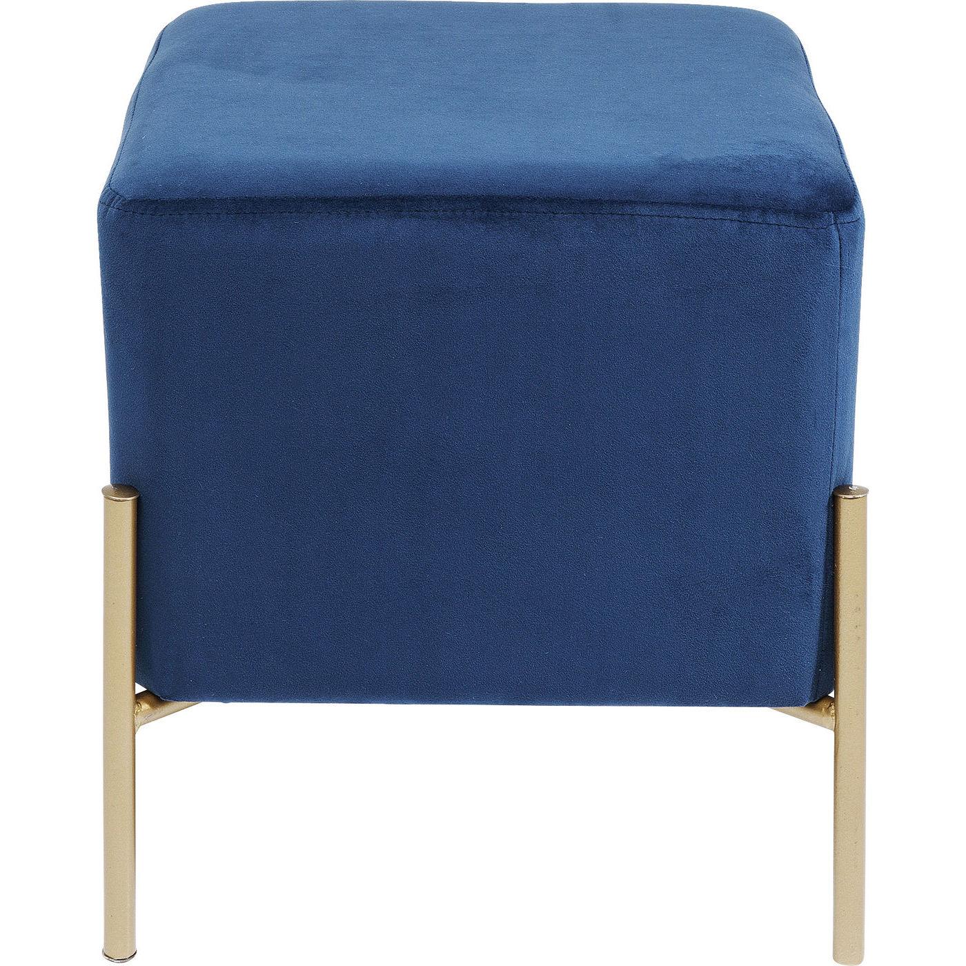 Image of   KARE DESIGN Franzi Blue Gold taburet - blåt stof/guld stål (37x37)
