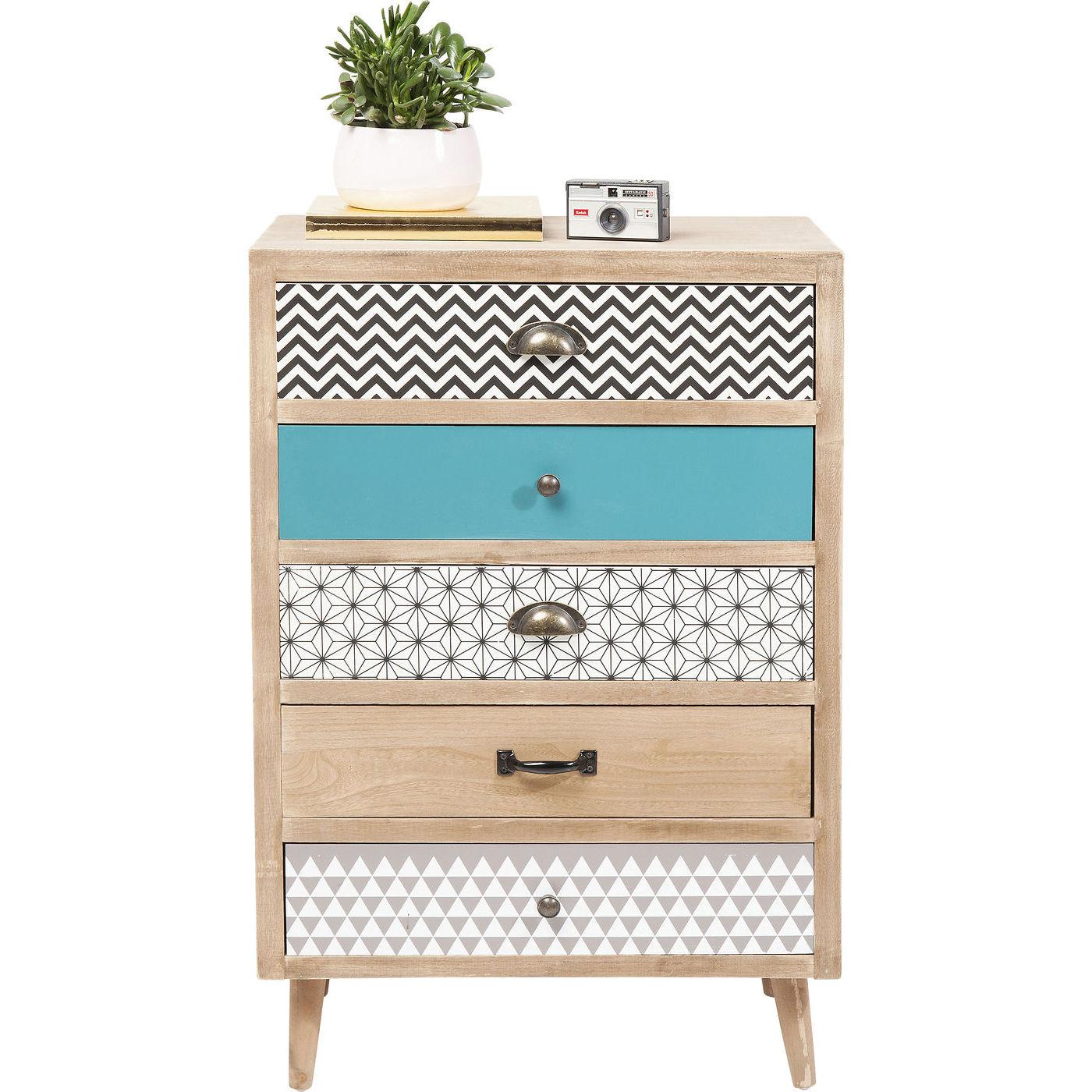 kare design capri kommode natur tr multifarvet papir m. Black Bedroom Furniture Sets. Home Design Ideas