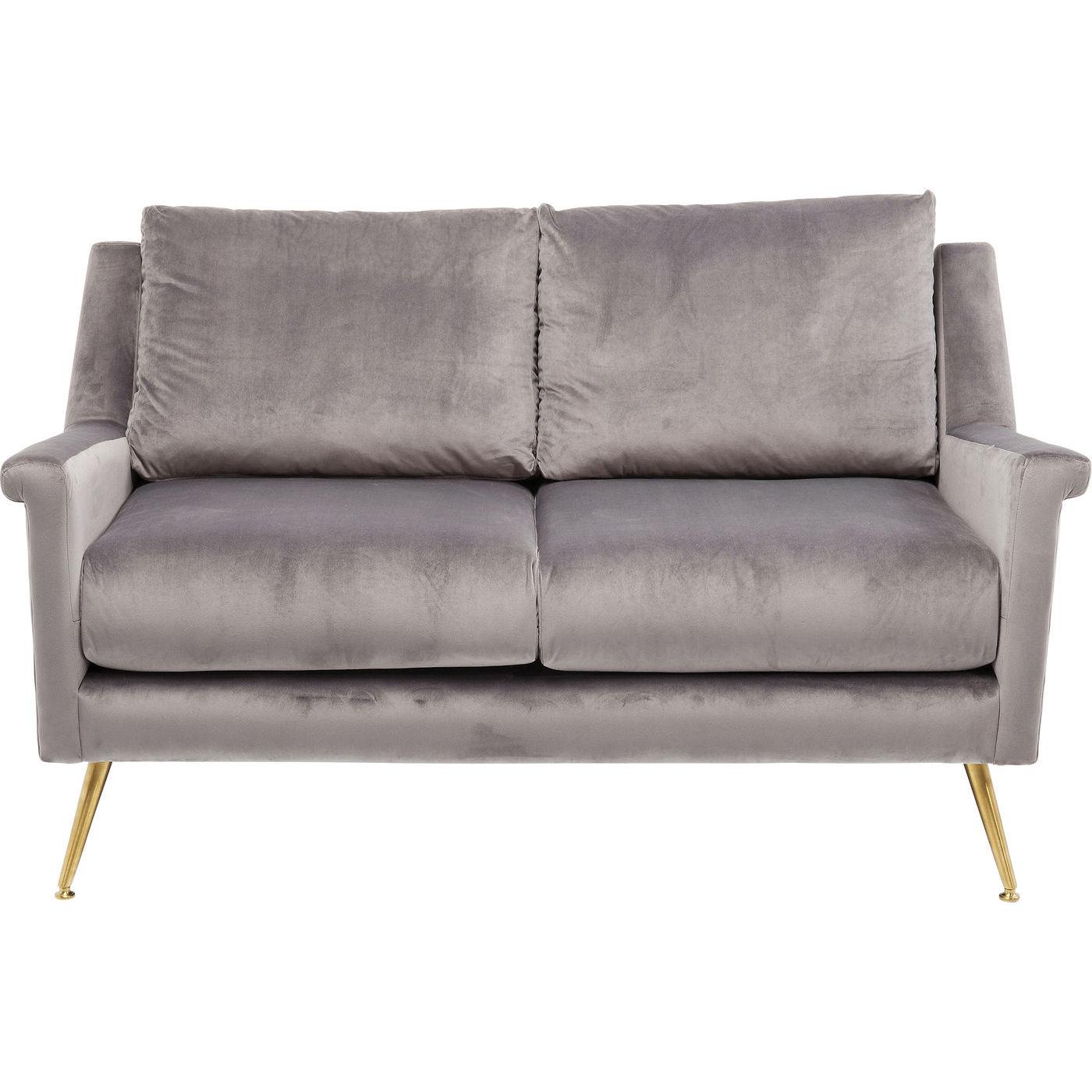 Kare design san diego grey 2-personers sofa - gråt stof/messing stål, m. armlæn fra kare design på boboonline.dk
