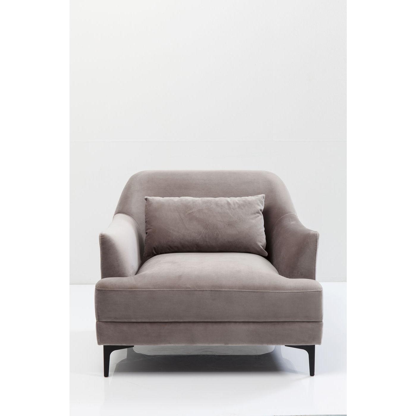 KARE DESIGN Proud Grey lænestol - gråt stof/stål, m. armlæn