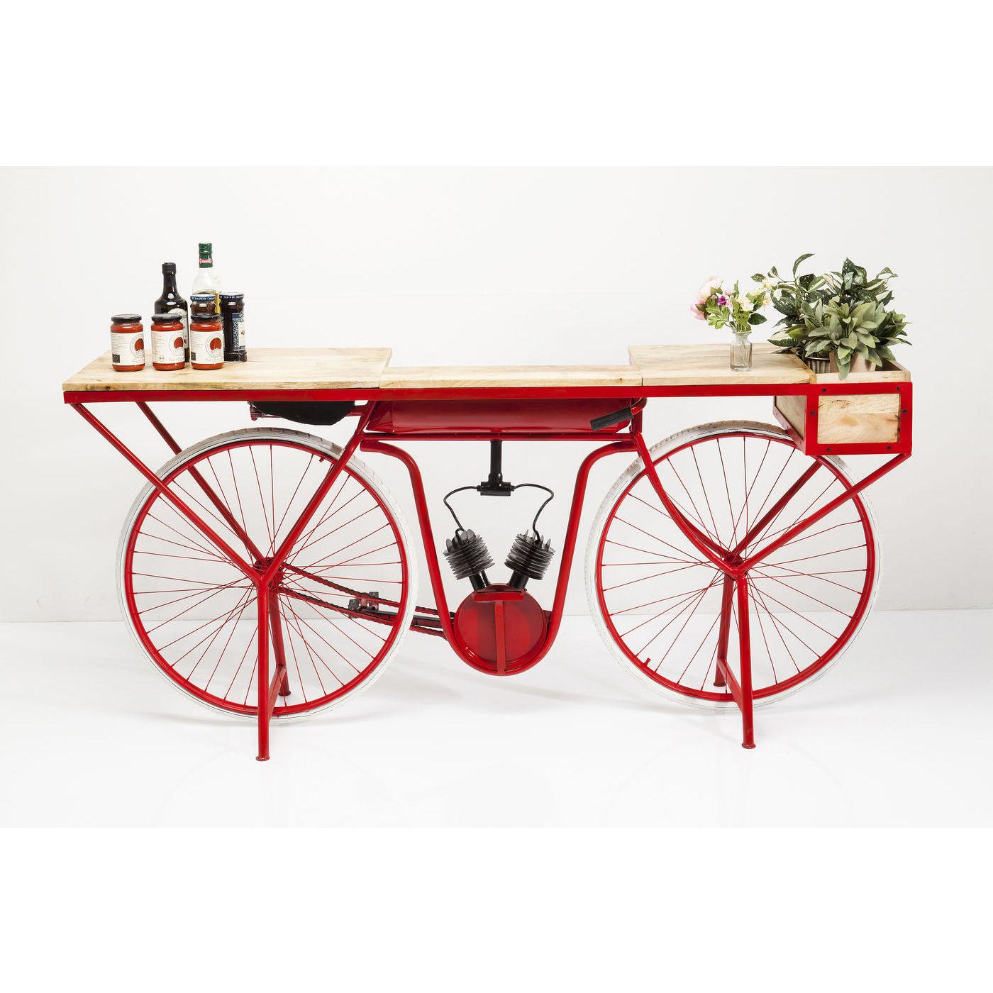 Image of   KARE DESIGN Bike Red konsolbord - natur mangotræ/rødt stål, unik