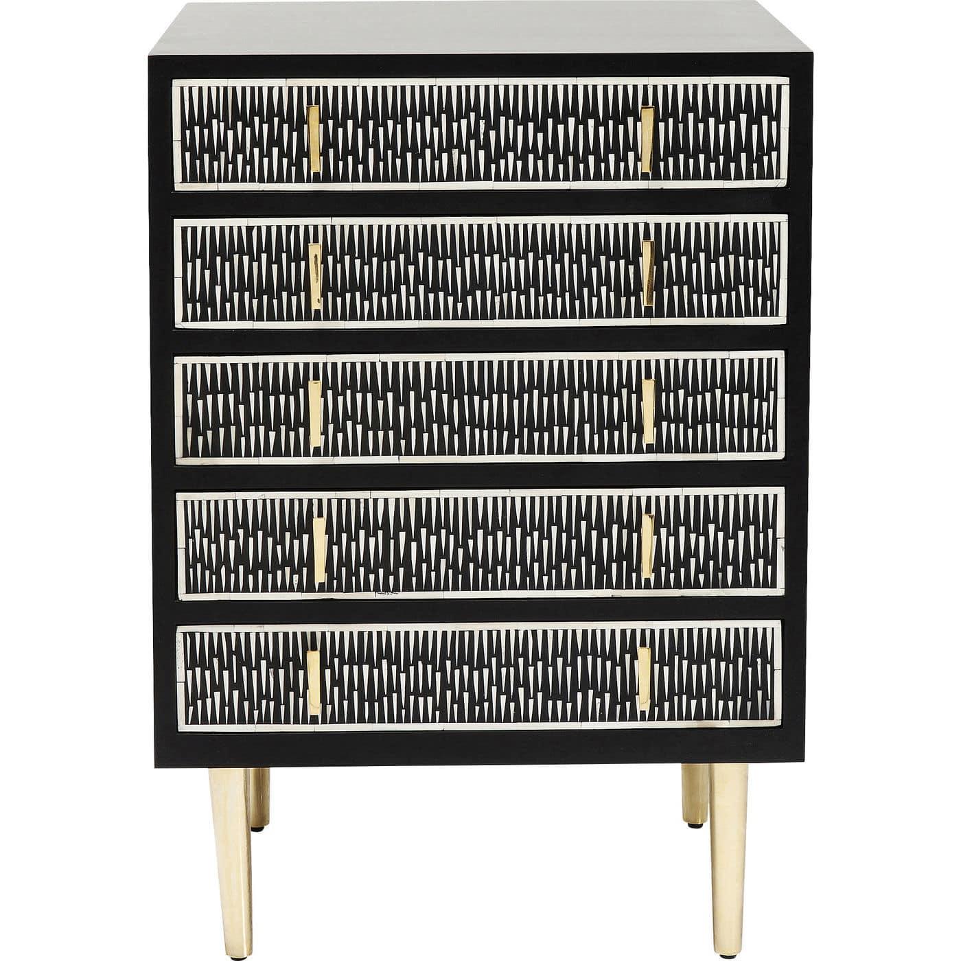 kare design Kare design piano kommode - sort plast/hvid kamelben/messing stål, m. 5 skuffer på boboonline.dk