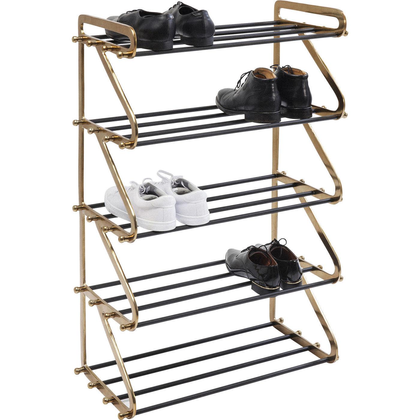 Seneste KARE DESIGN Walk Five skohylde - guld aluminium/sort stål GQ79