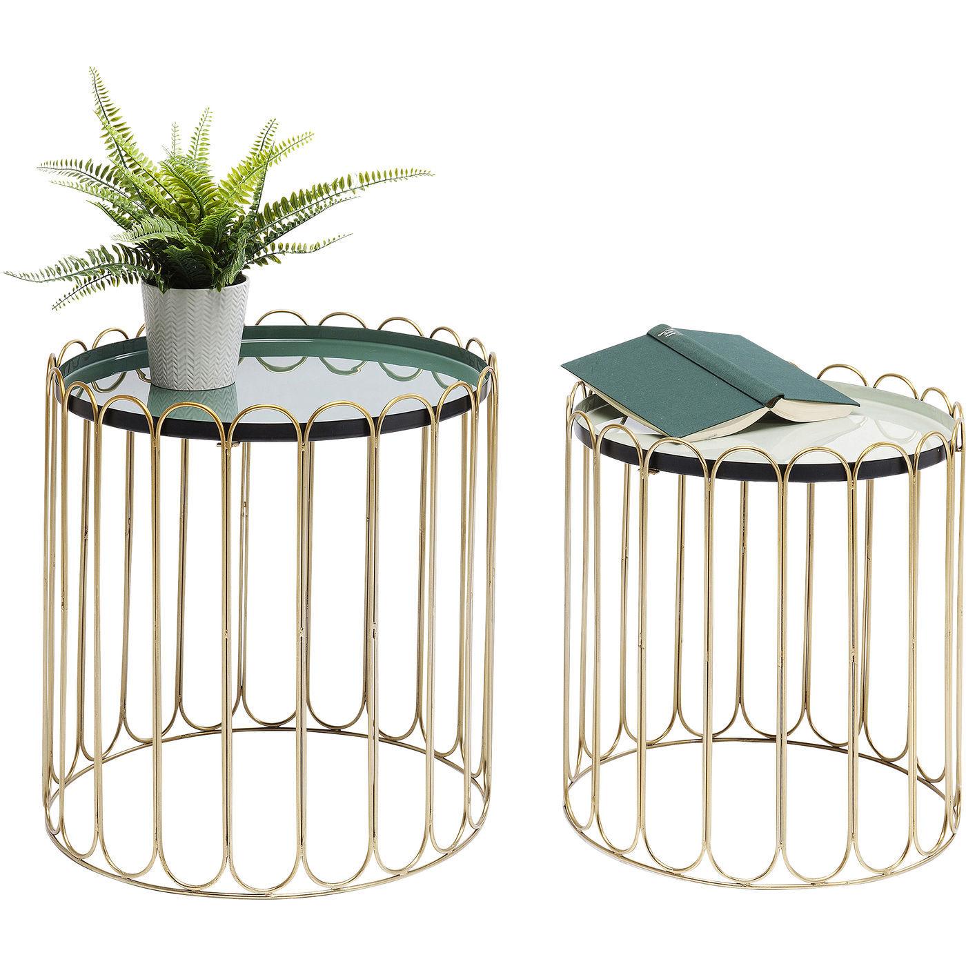 kare design Kare design cha cha cha sidebord - grøn/hvid emalje og guld stål, rundt (2/sæt) fra boboonline.dk
