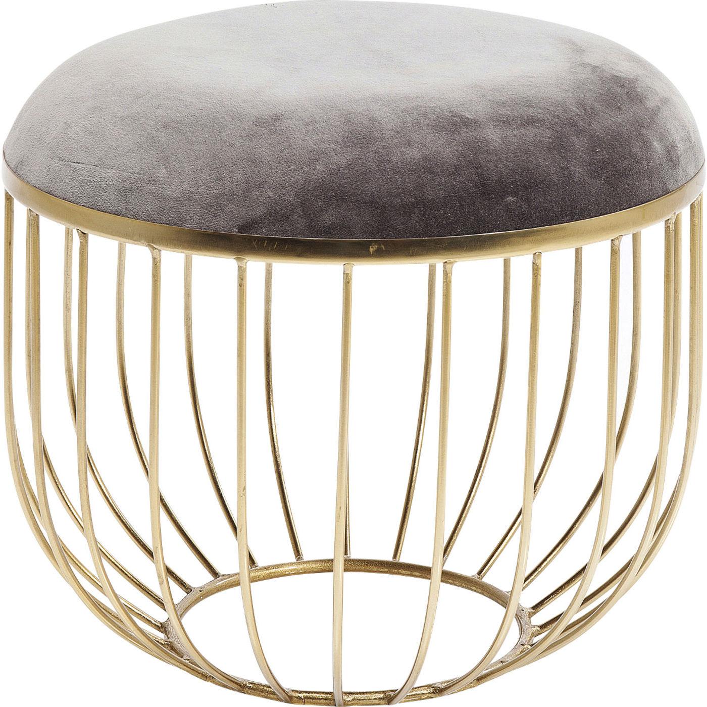 Kare design st barth taburet - grå bomuld/messing stål, rund (ø45) fra kare design på boboonline.dk