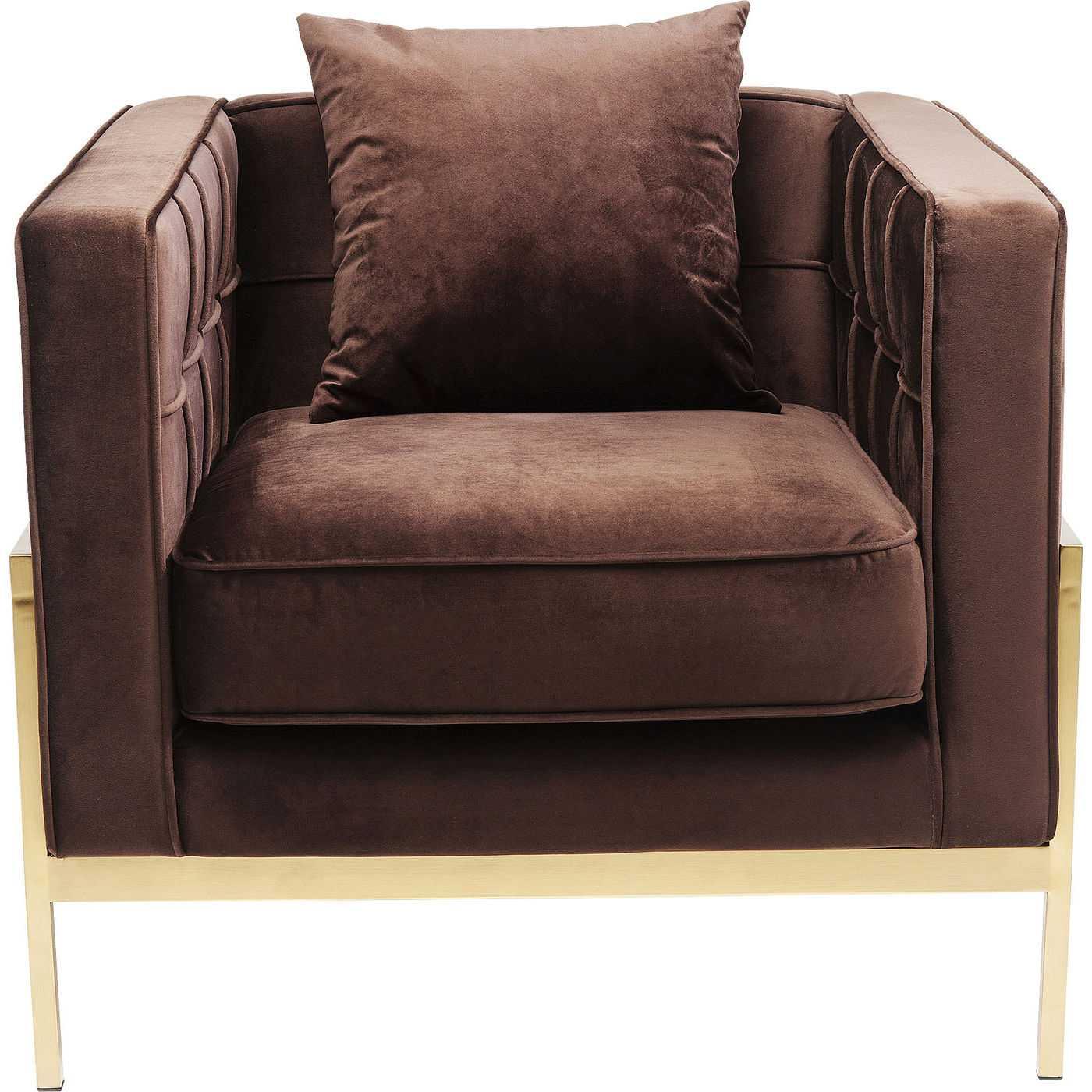 kare design Kare design loft brown lænestol - brunt stof/messing stål, m. armlæn og pude fra boboonline.dk