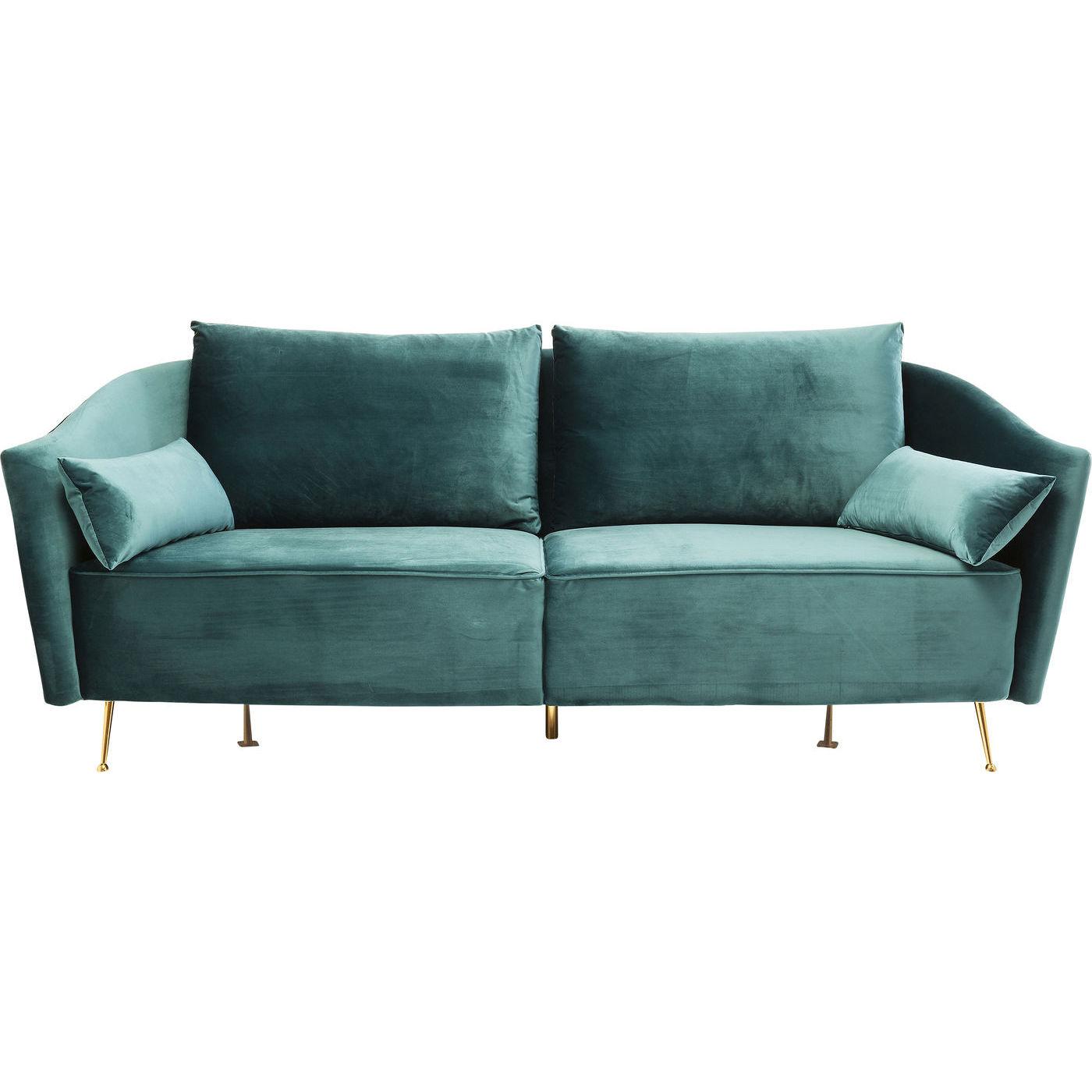 kare design Kare design vegas forever bluegreen 3-personers sofa - blå/grønt stof og guld stål, m. armlæn på boboonline.dk