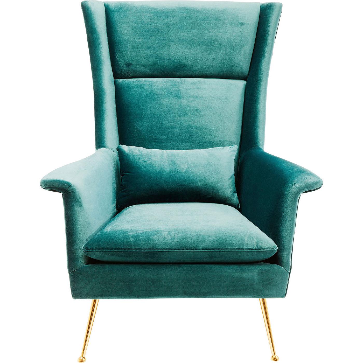 Kare design vegas forever bluegreen lænestol - blå/grønt stof og guld stål, m. armlæn fra kare design på boboonline.dk