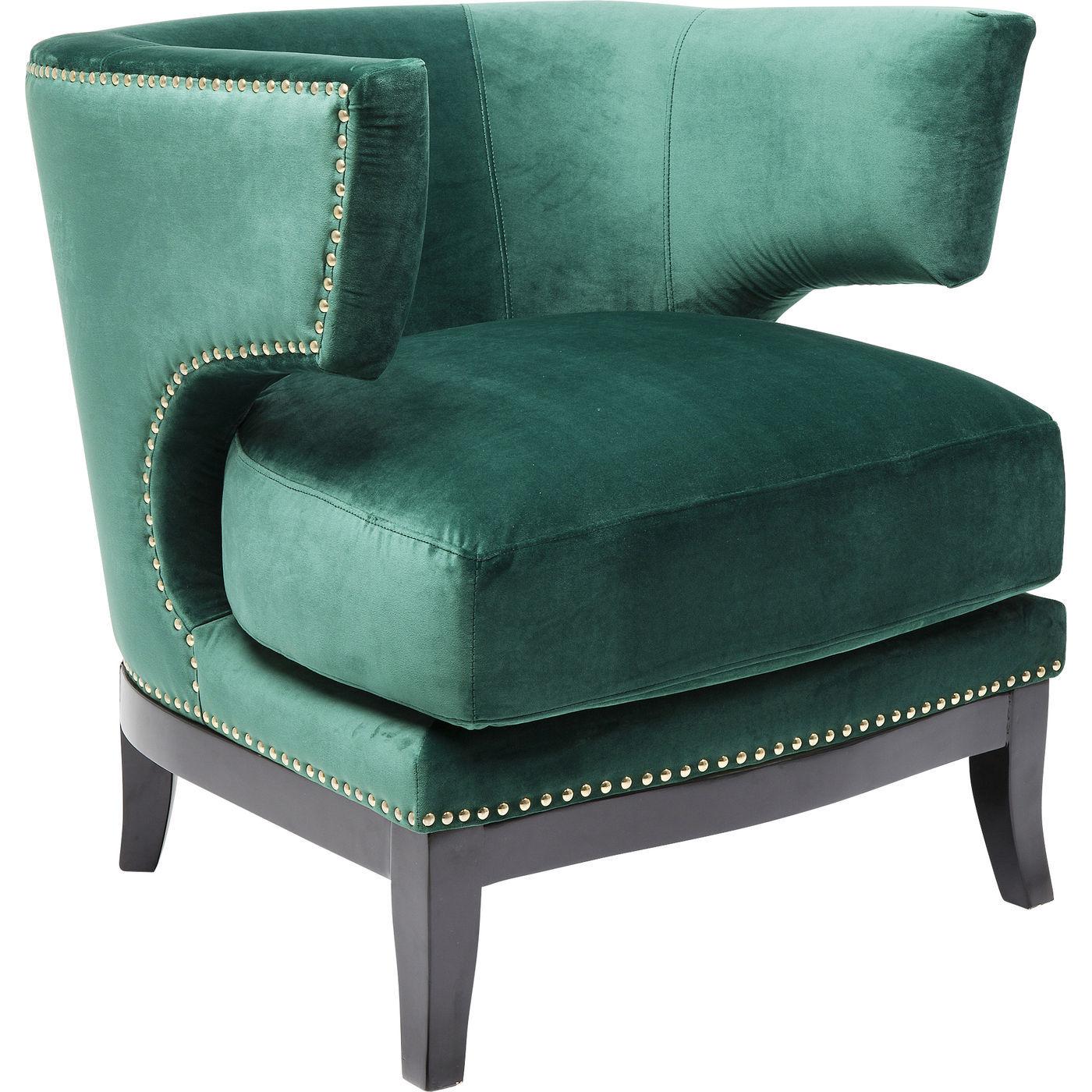 Kare design art deco green lænestol - grønt stof/sort birk, m. nitter og armlæn fra kare design på boboonline.dk