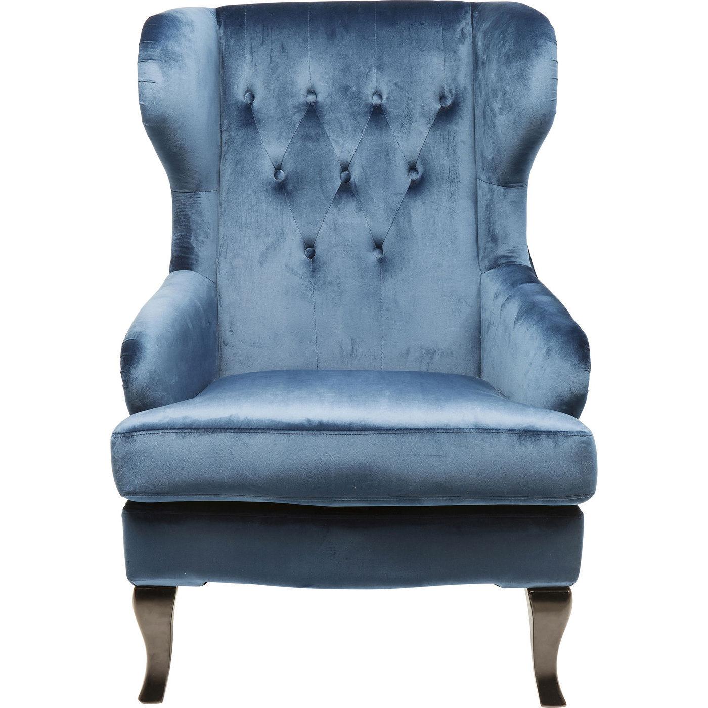 Kare design vintage blue lænestol - blåt stof/brun birk, m. armlæn fra kare design fra boboonline.dk