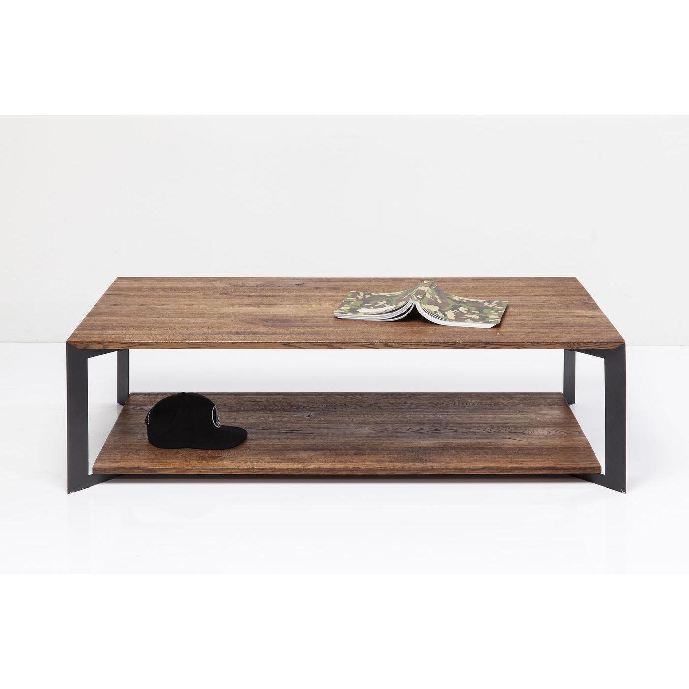Kare design phoenix sofabord - natur egetræ/stål, m. hylde (140x70) fra kare design på boboonline.dk
