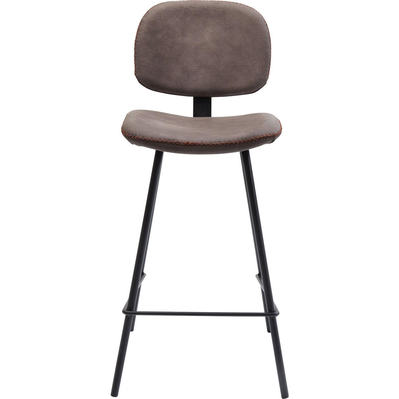Kare design barber brown barstol - brunt læderlook/stålben fra kare design fra boboonline.dk