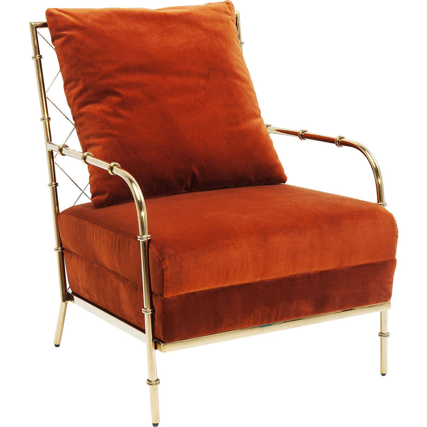 kare design Kare design regina lænestol - orange/rødt stof og guld stål, m. armlæn fra boboonline.dk