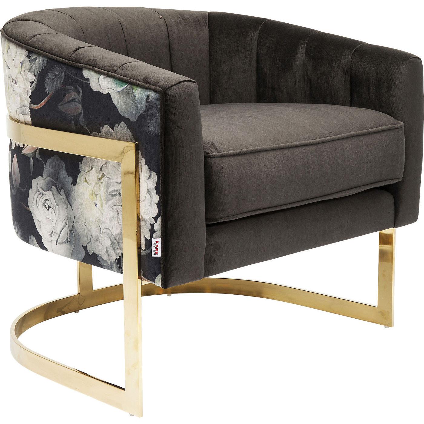 Image of   KARE DESIGN Bold Club lænestol - sort/multifarvet stof og guld stål, m armlæn