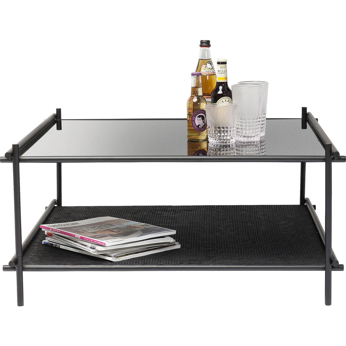 kare design – Kare design mesh sofabord - sort glas/plastik/stål, m. 1 hylde, kvadratisk (80x80) på boboonline.dk