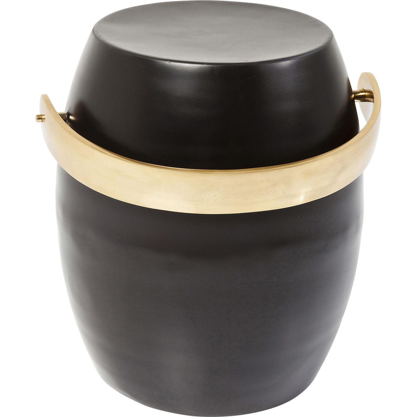 Image of   KARE DESIGN Barrel Handle taburet - guld/aluminium og sort/stål