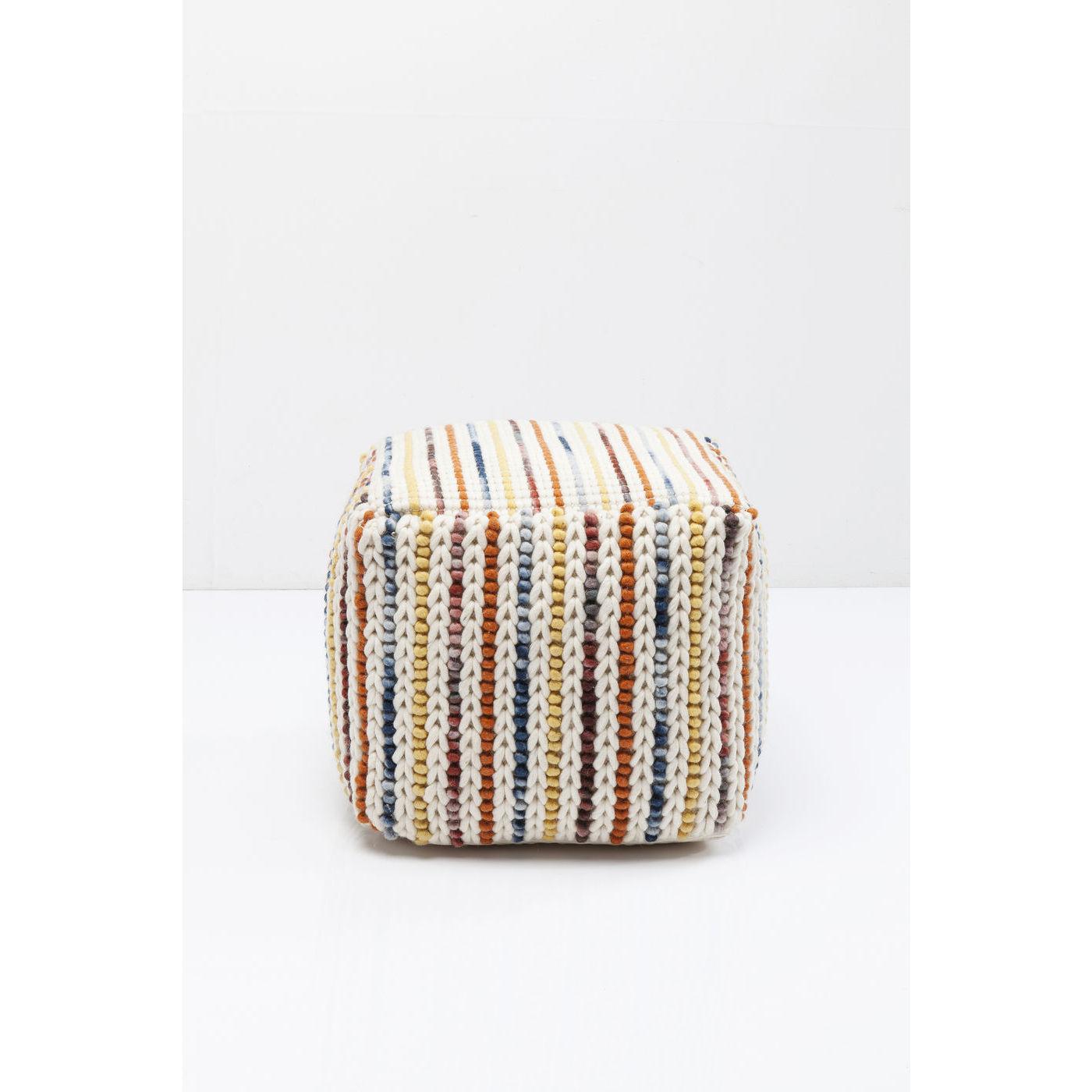 Image of   KARE DESIGN Breeze puf - multifarvet stof, håndlavet, kvadratisk