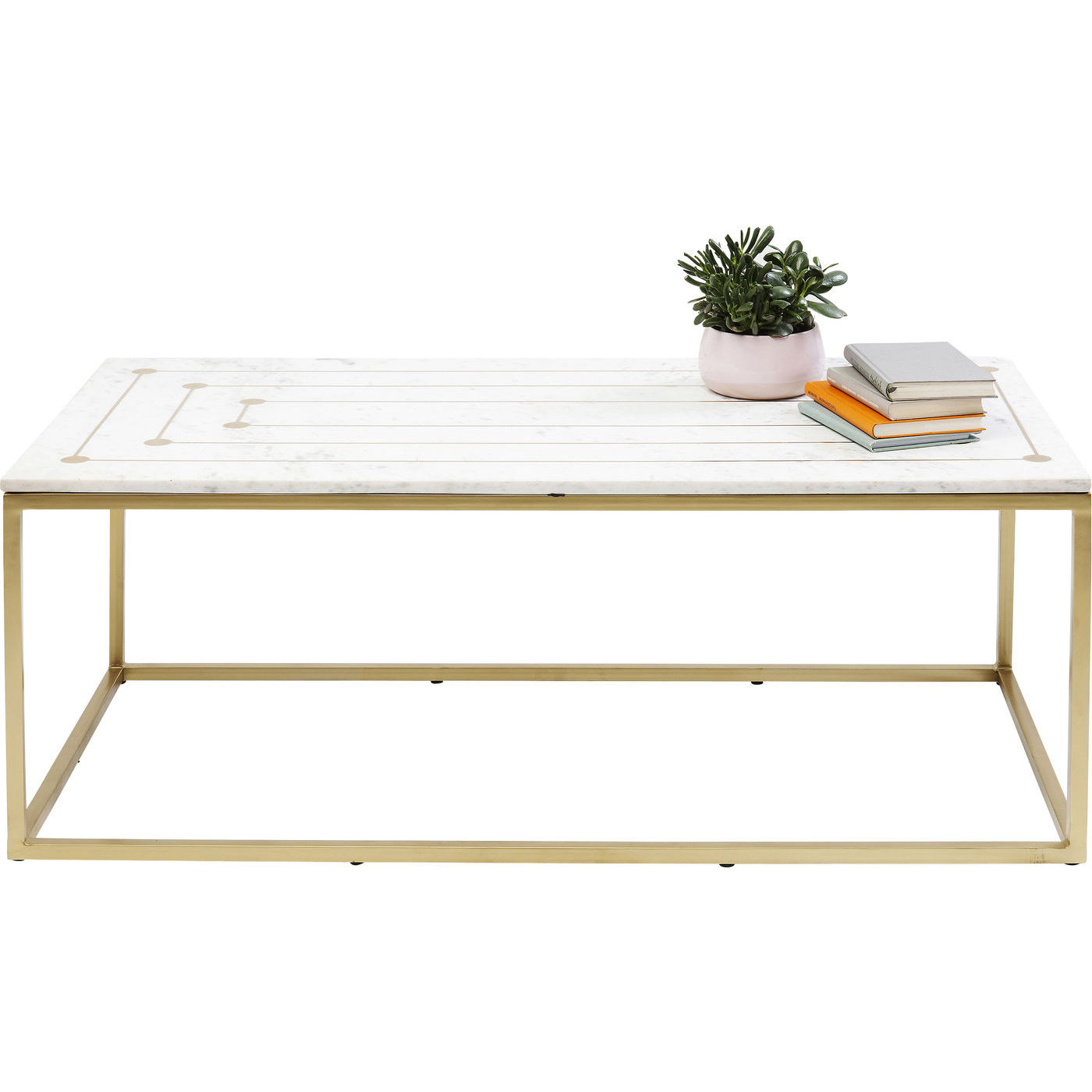 kare design – Kare design mystic rectangular sofabord - hvid marmor/messing stål, unik (120x60) på boboonline.dk