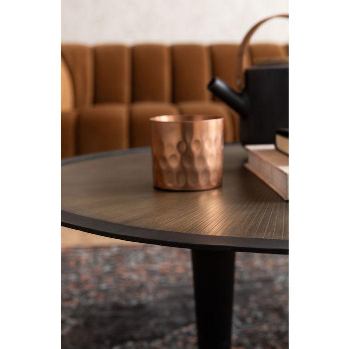 KARE DESIGN Iris sofabord - messing/stål MDF/laminat og sort mangotræ, asymmetrisk