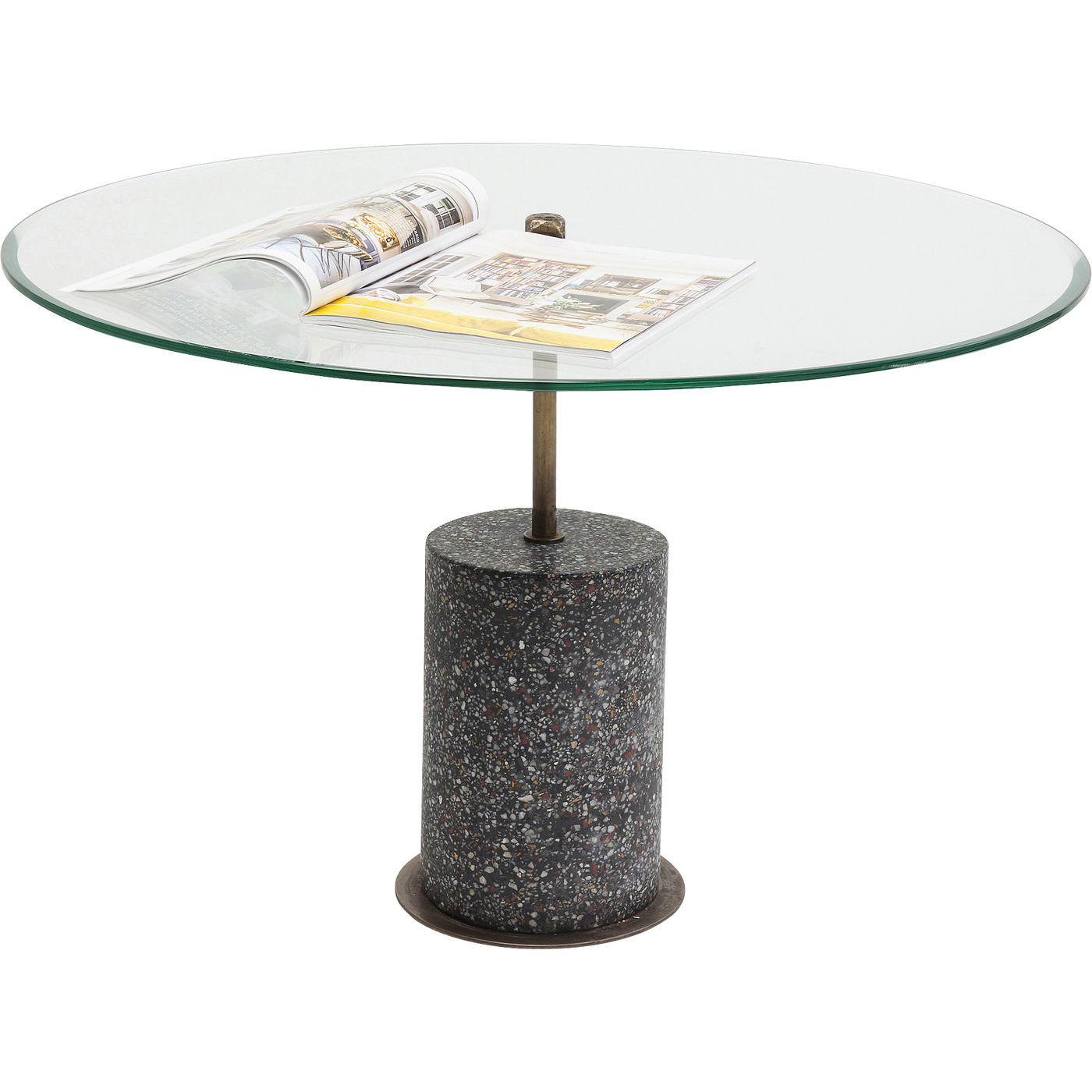 Kare design terrazzo visible black sofabord - klart glas/sort terrazzo beton, rundt (ø81) fra kare design på boboonline.dk