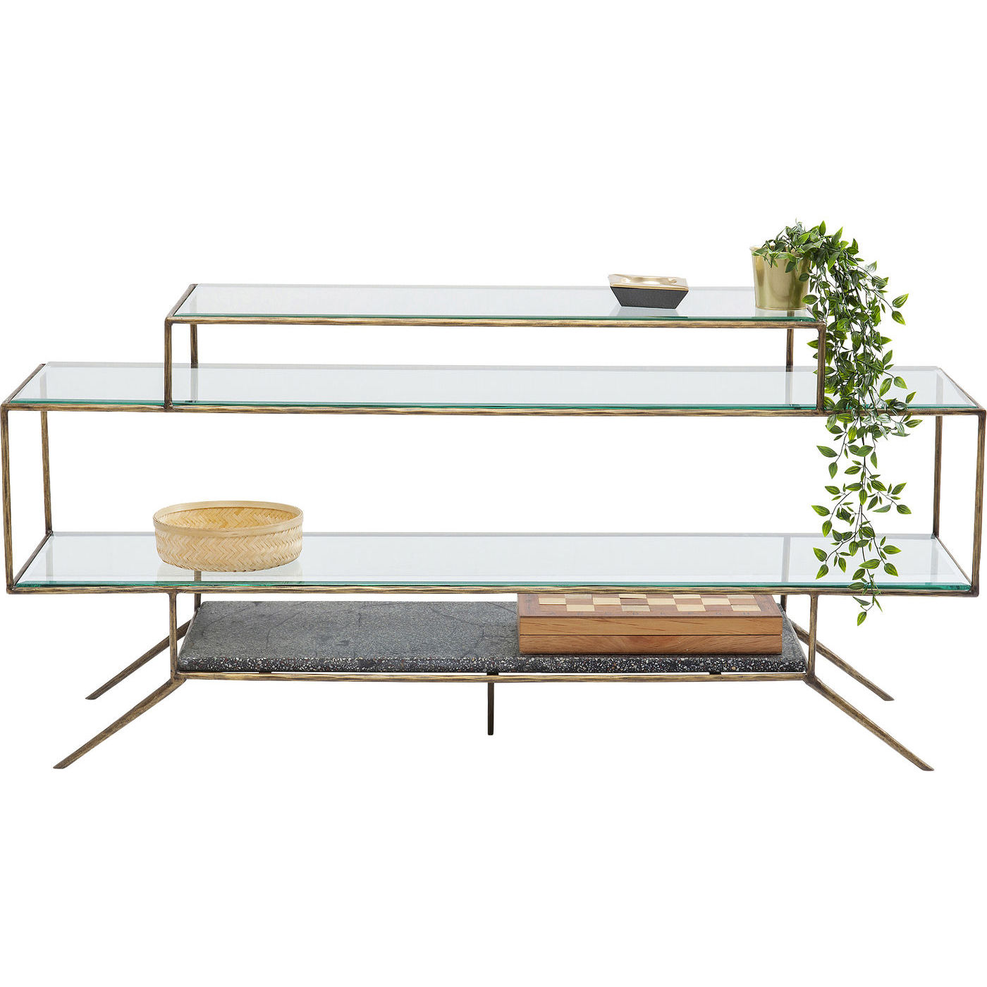 Image of   KARE DESIGN Terrazzo TV-bord - klart glas/multifarvet beton/messing stål, m. hylder