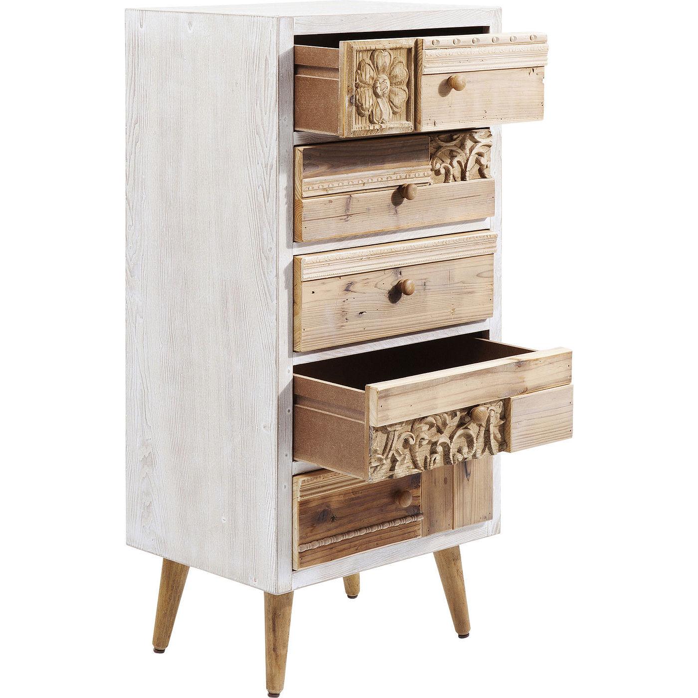 kare design davos kommode hvidt natur tr m 5 skuffer kommoder bobo m bler. Black Bedroom Furniture Sets. Home Design Ideas