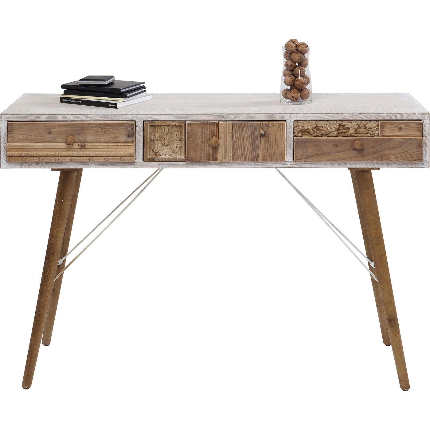 Image of   KARE DESIGN Davos konsolbord - hvidlakeret/natur træ/stål, m. 3 skuffer