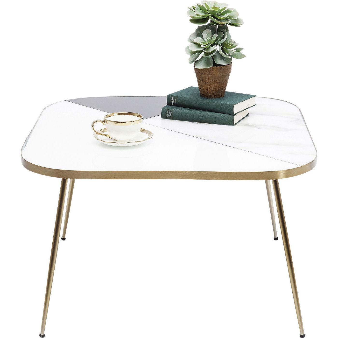 kare design – Kare design hipster sofabord - hvidt træ/sort glas og messing stål, kvadratisk (70x70) på boboonline.dk