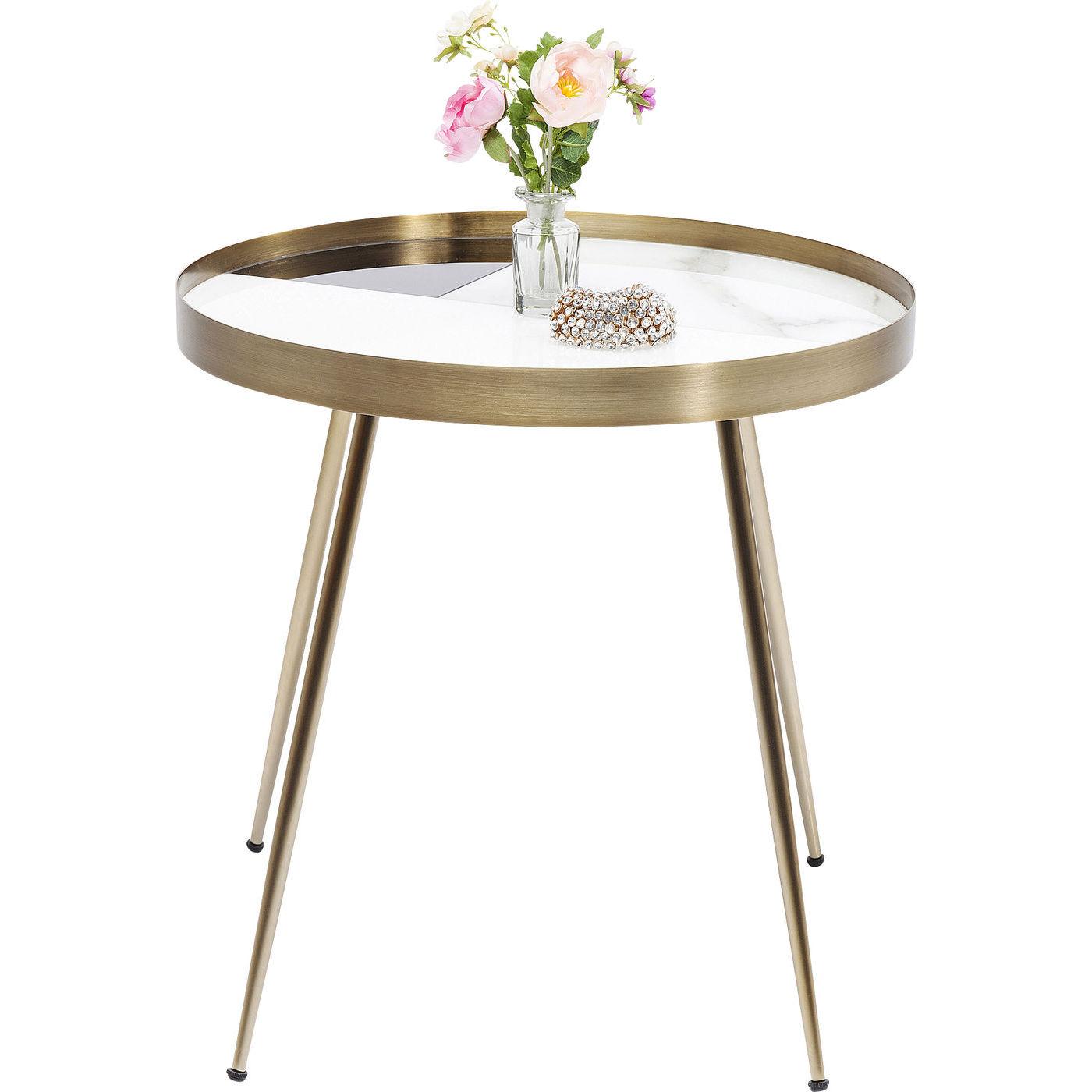 Kare design hipster sidebord - sort/hvidt glas/træ og messing stål, rundt (ø50) fra kare design på boboonline.dk