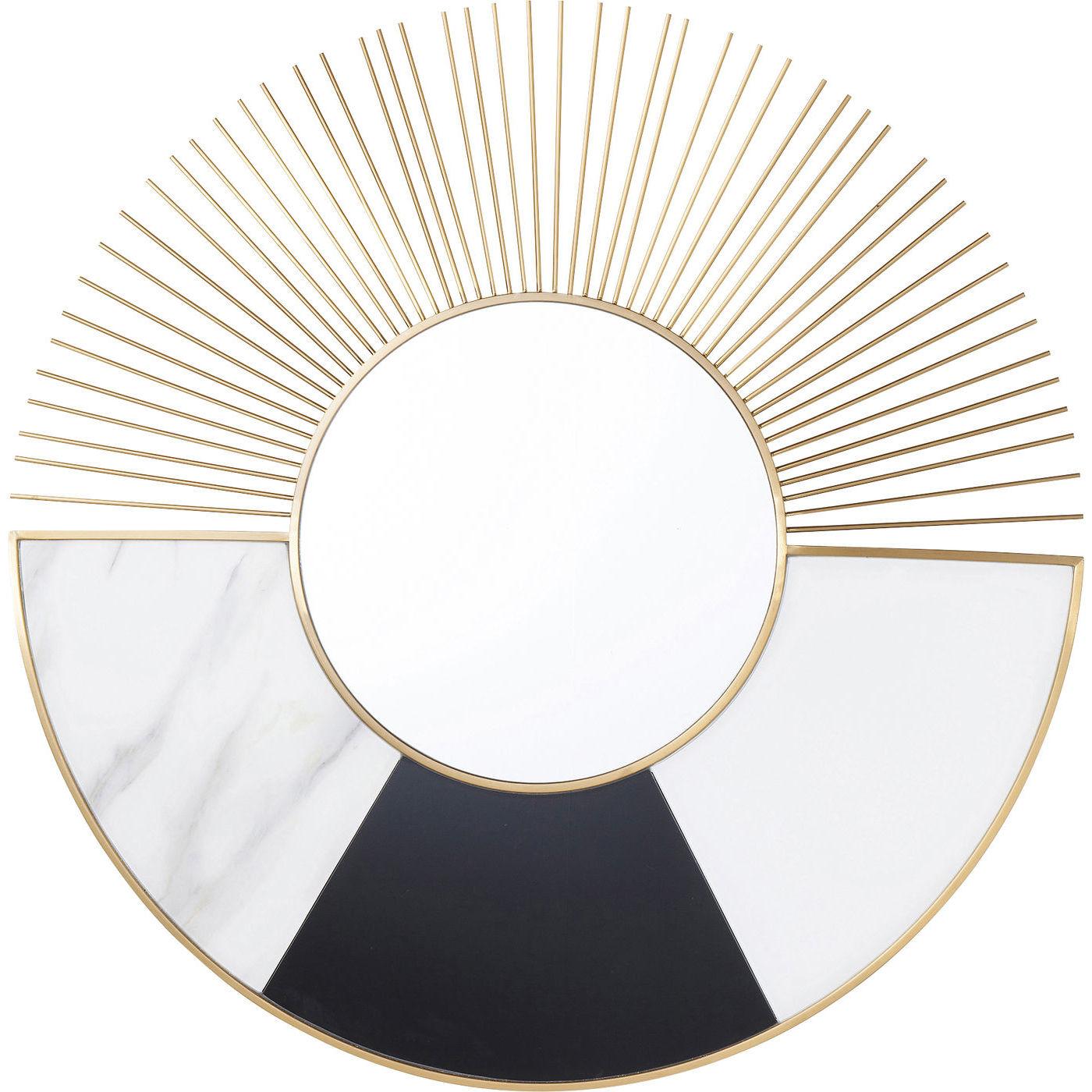 Kare design hipster beam vægspejl - spejlglas/messing stål/hvidt og sort glas, rundt (ø102) fra kare design fra boboonline.dk