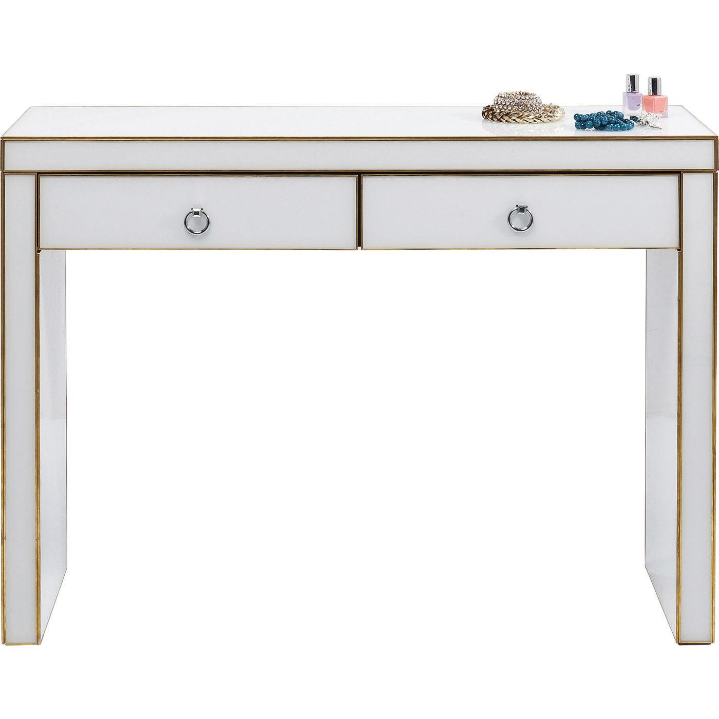 KARE DESIGN Gracioso konsolbord - hvidt glas/messing stål, m. 2 skuffer