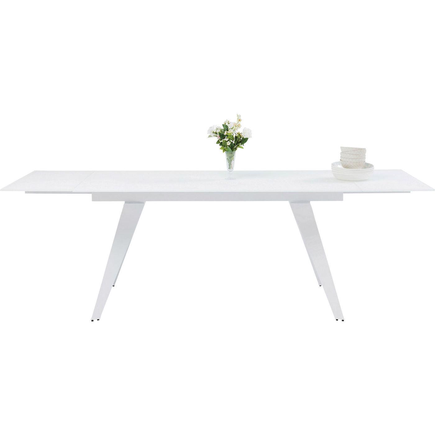 Picture of: Kare Design Amsterdam White Spisebord Hvidt Glas Stal Incl 2 Tillaegsplader 160 40 40 X90 Spisestue Pa Gridmanager Dk Bolig Have Og Interior Find Den Bedste Pris Pa Grid Manager