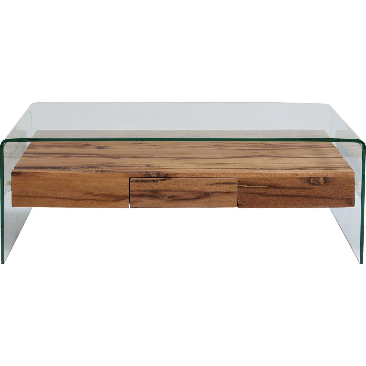 kare design Kare design modern nature sofabord - klart glas/natur genbrugstræ, m. 1 skuffe på boboonline.dk