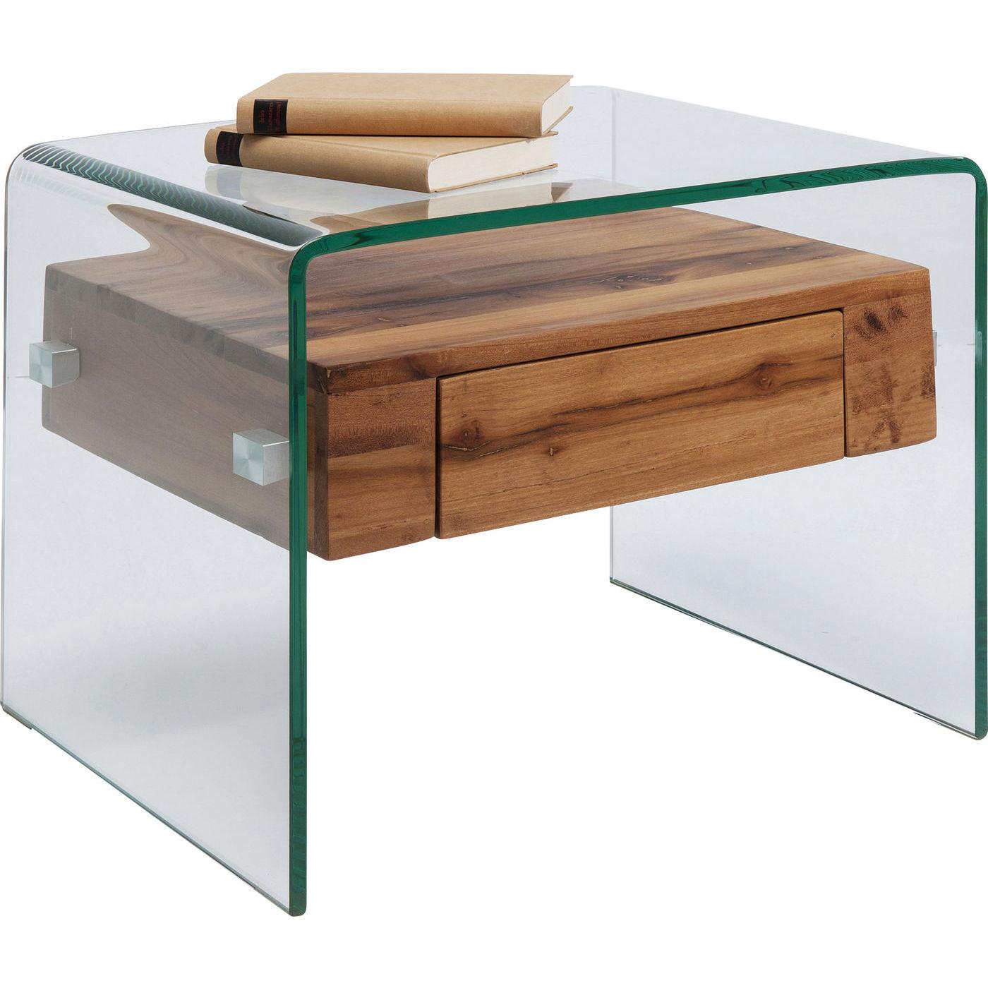kare design – Kare design modern nature sidebord - klart glas/ natur shala genbrugstræ, m. 1 skuffe (52x44) på boboonline.dk