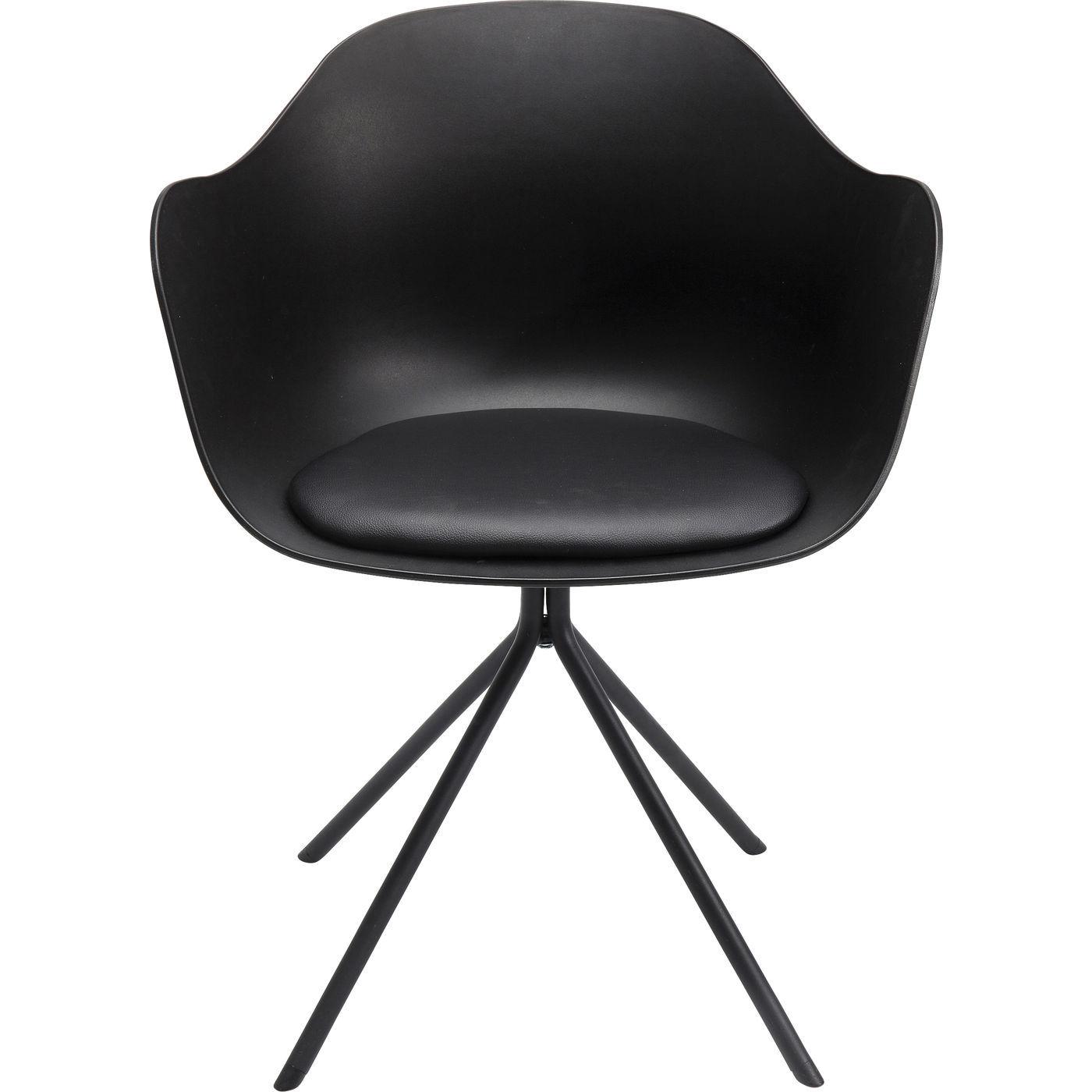 kare design – Kare design bel air spisebordsstol - sort plastik/sort plastikbelagt stof/sort stål, m. armlæn på boboonline.dk