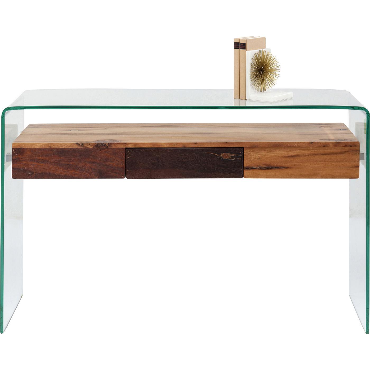 Image of   KARE DESIGN Modern Nature konsolbord - klart glas/natur genbrugstræ, m. 1 skuffe (120x40)