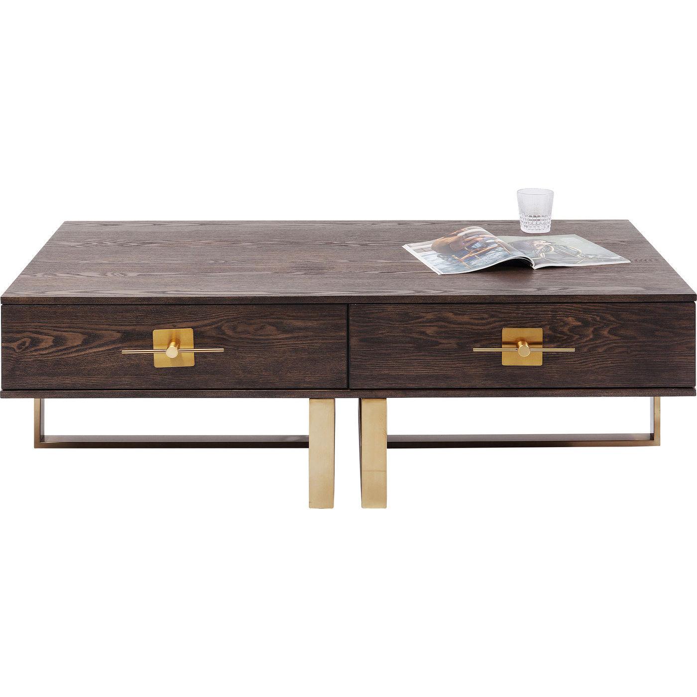 kare design Kare design osaka sofabord - brunt asketræsfin?r/guld stål, m. 2 skuffer (138x77) på boboonline.dk