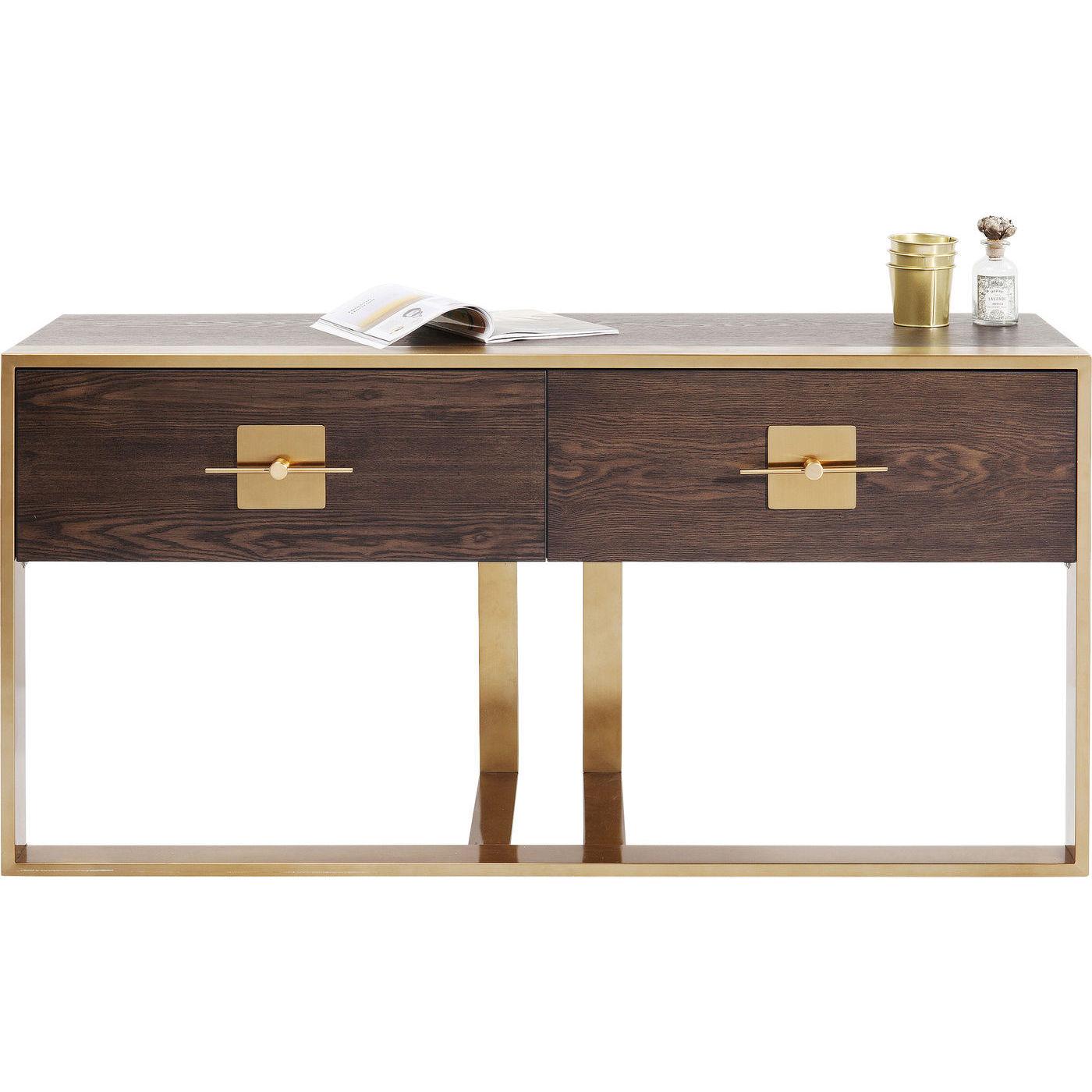 Image of   KARE DESIGN Osaka konsolbord - brunt asketræsfinér/messing stål, m. 2 skuffer