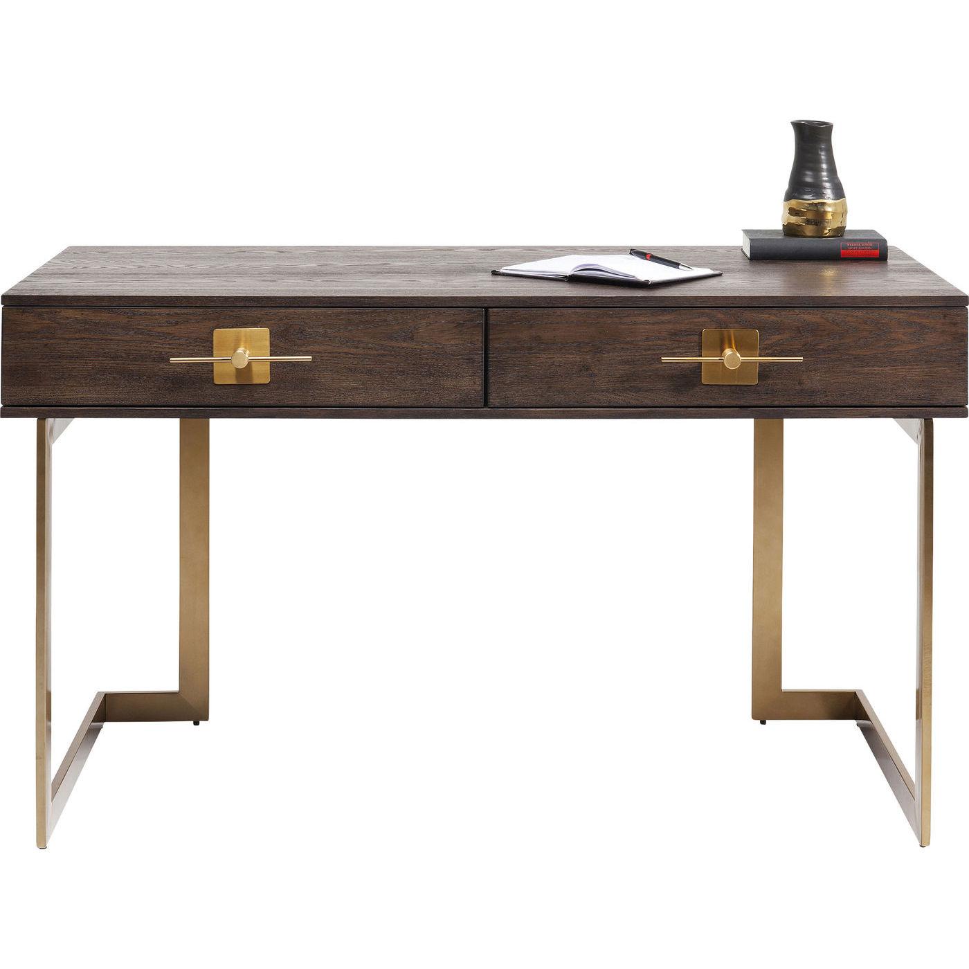 KARE DESIGN Osaka skrivebord - brunt asketræsfinér/messing stål, m. 2 skuffer (138x60)