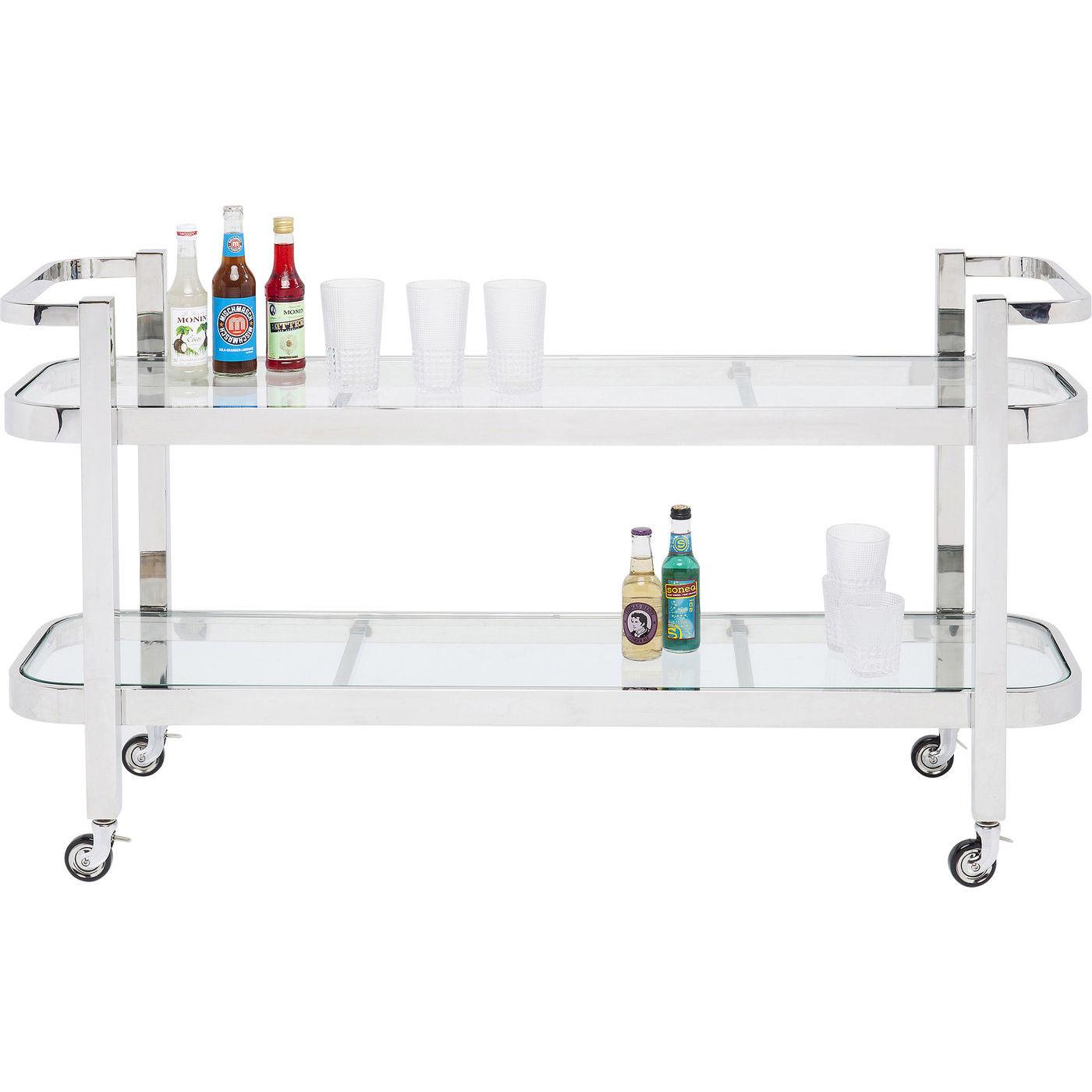 kare design Kare design daydrinking rullebord - klart glas/sølv stål, m. hylde og hjul (140x46) fra boboonline.dk