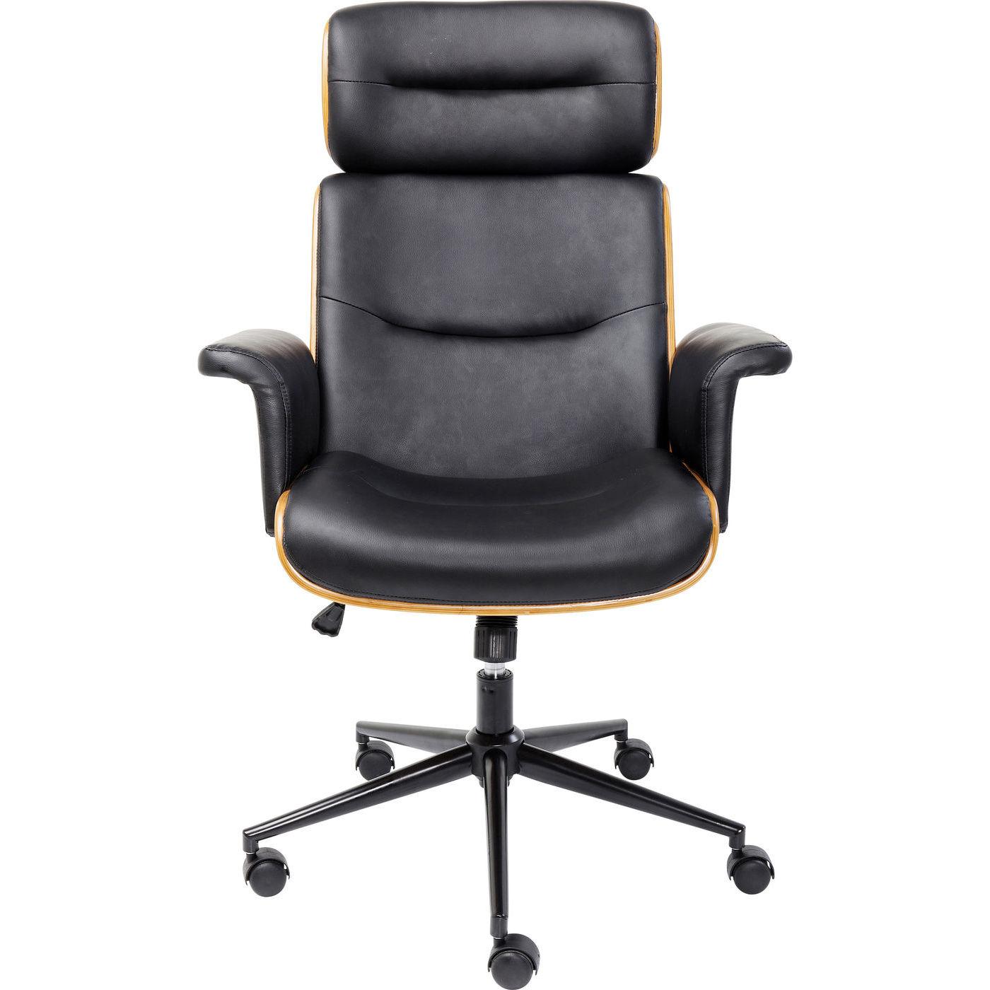 Billede af KARE DESIGN Check Out kontorstol - sort kunstlæder/natur finér/sort stål, m. hjul og armlæn