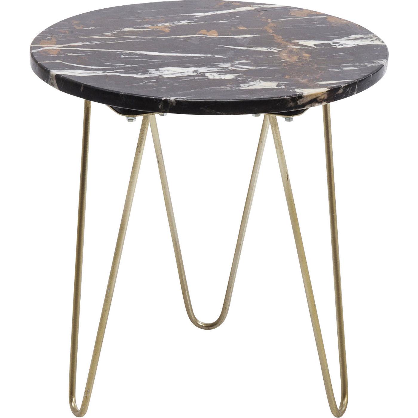 kare design Kare design key largo brown sidebord - brunt marmor/guld stål, rundt (ø45) fra boboonline.dk