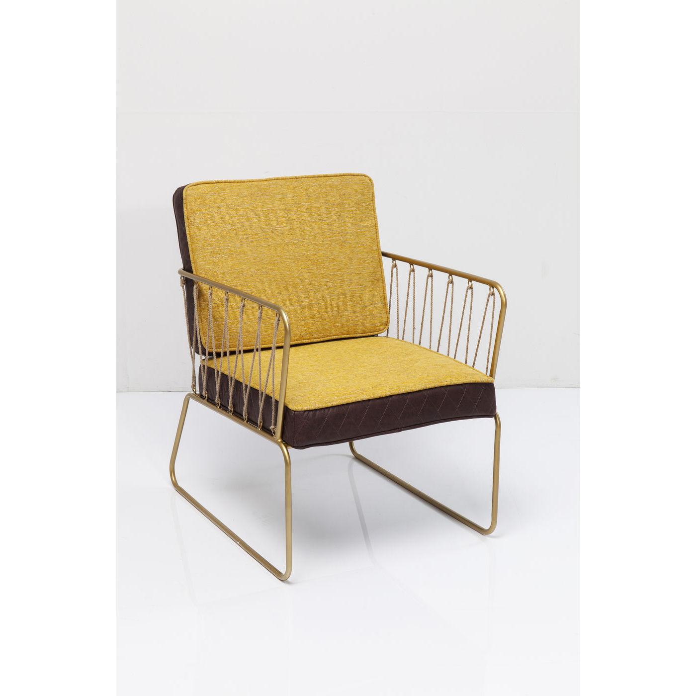 KARE DESIGN String Yellow lænestol - gult/brunt stof og guld stål, m. armlæn